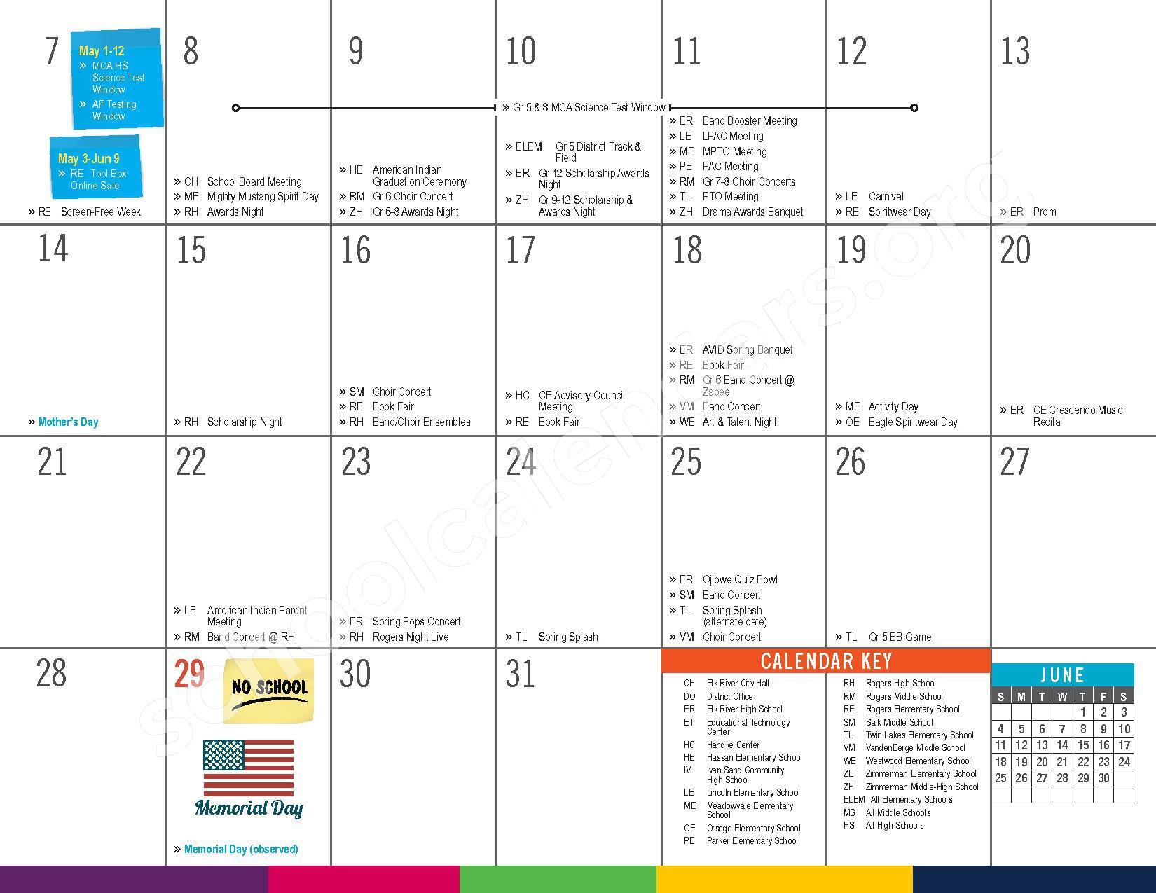 2016 - 2017 District Calendar – Vandenberge Middle School – page 23