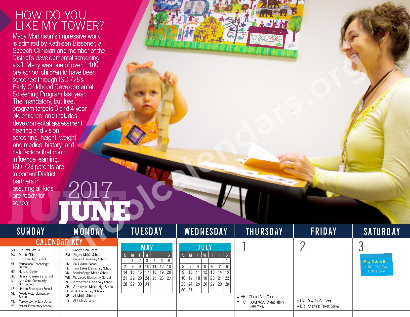 2016 - 2017 District Calendar – Vandenberge Middle School – page 24