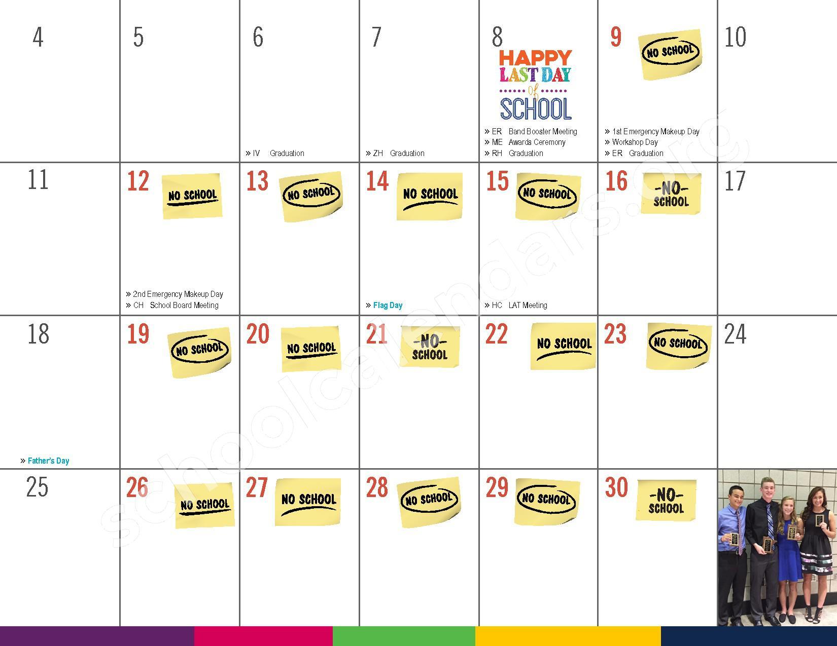 2016 - 2017 District Calendar – Vandenberge Middle School – page 25