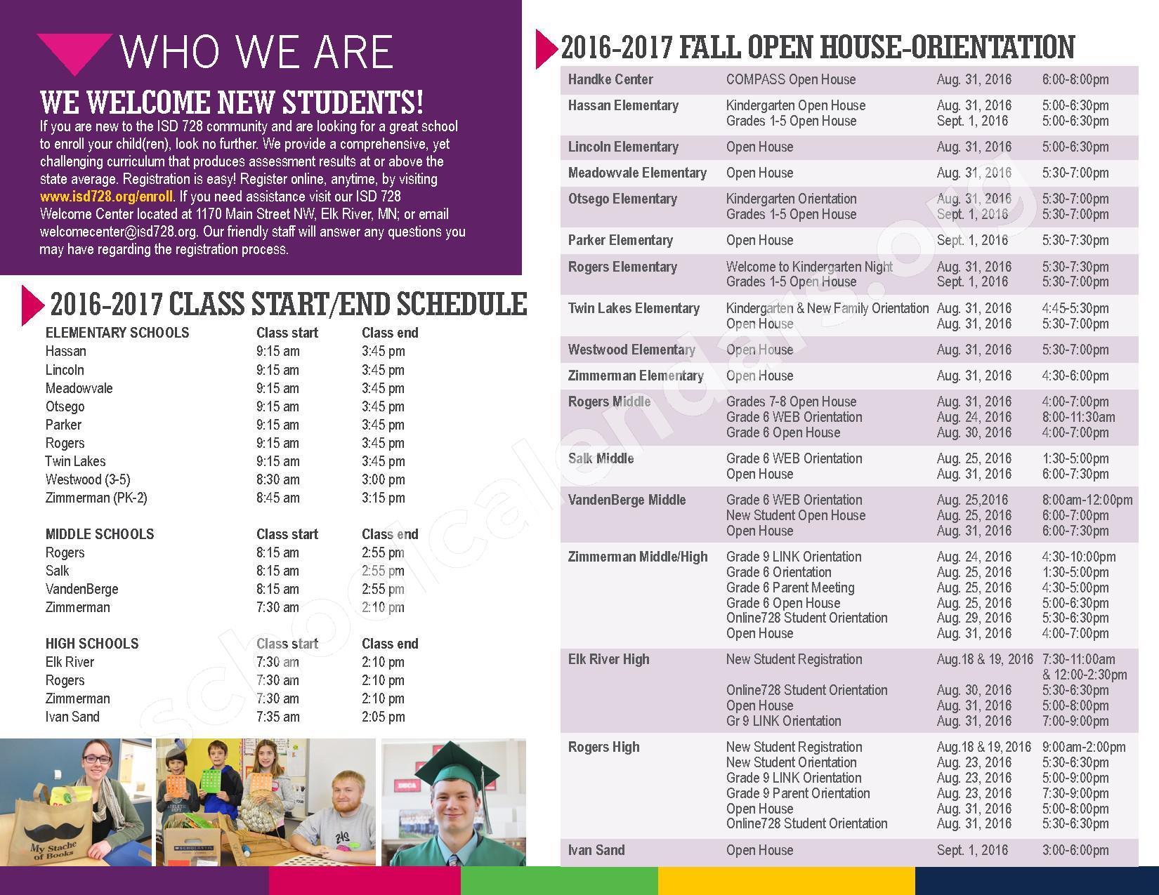2016 - 2017 District Calendar – Vandenberge Middle School – page 29