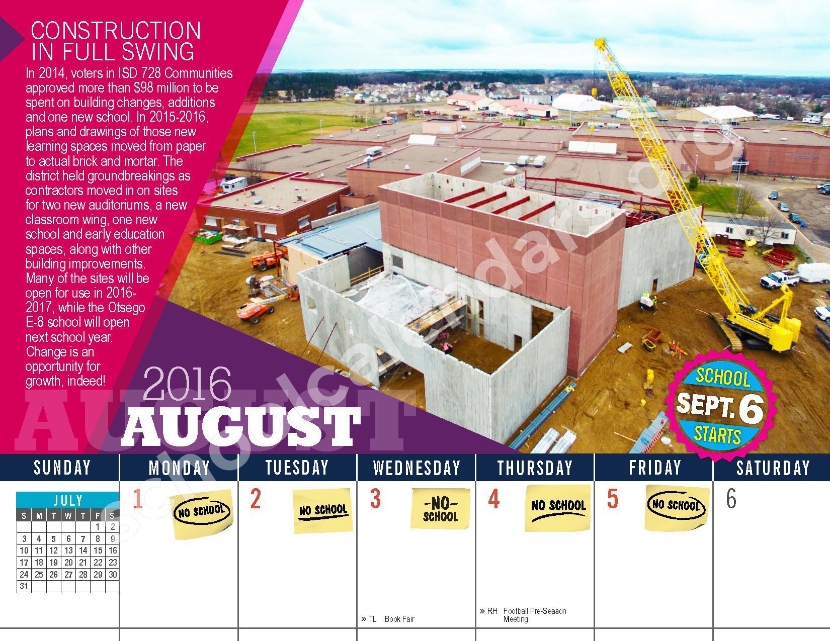 2016 - 2017 District Calendar – Vandenberge Middle School – page 4