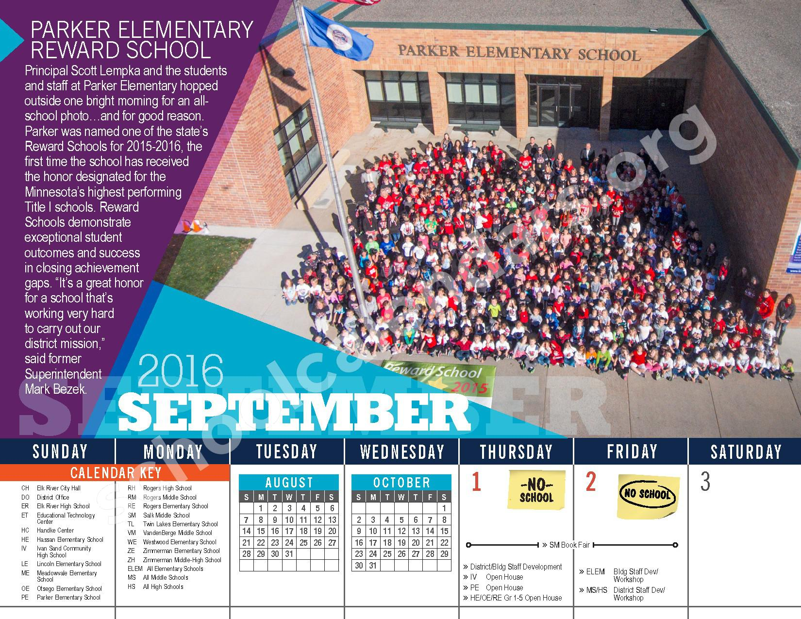 2016 - 2017 District Calendar – Elk River Public School District – page 6