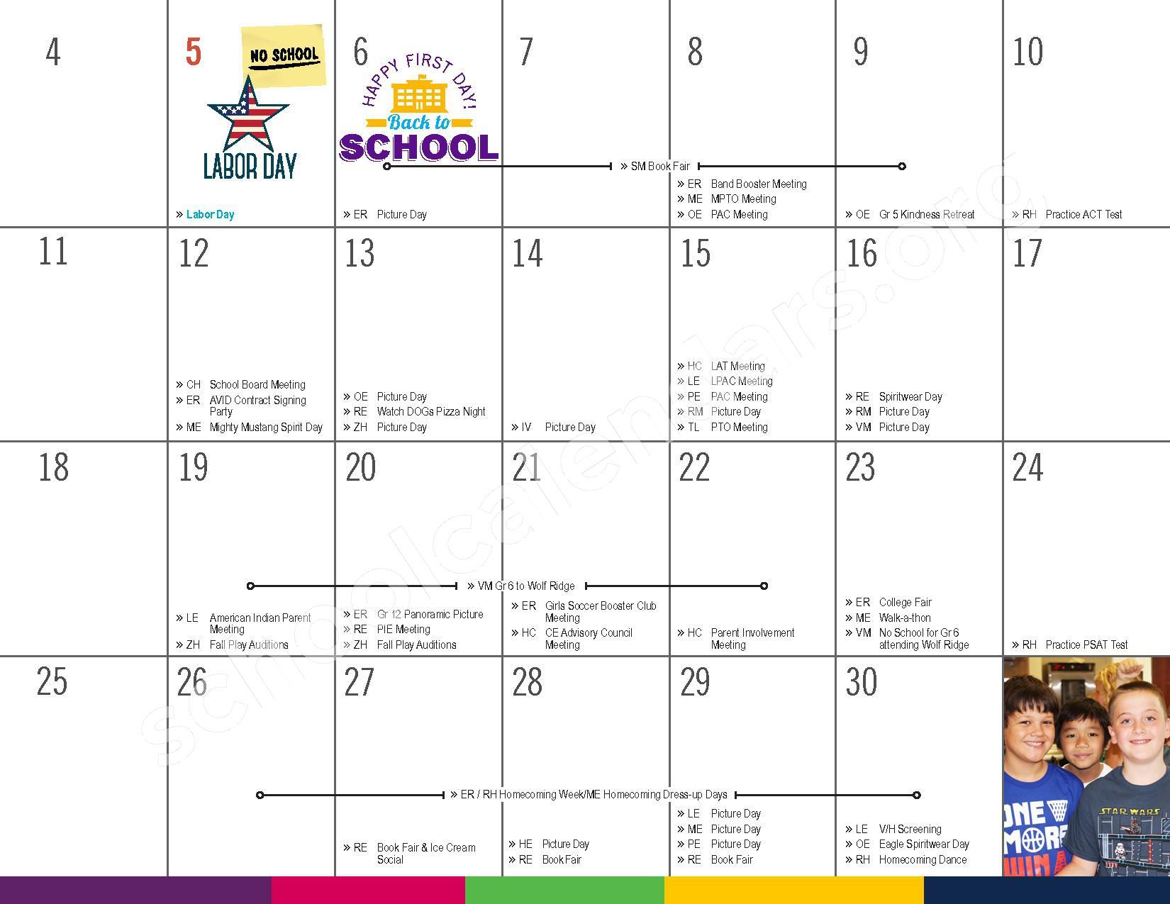 2016 - 2017 District Calendar – Vandenberge Middle School – page 7