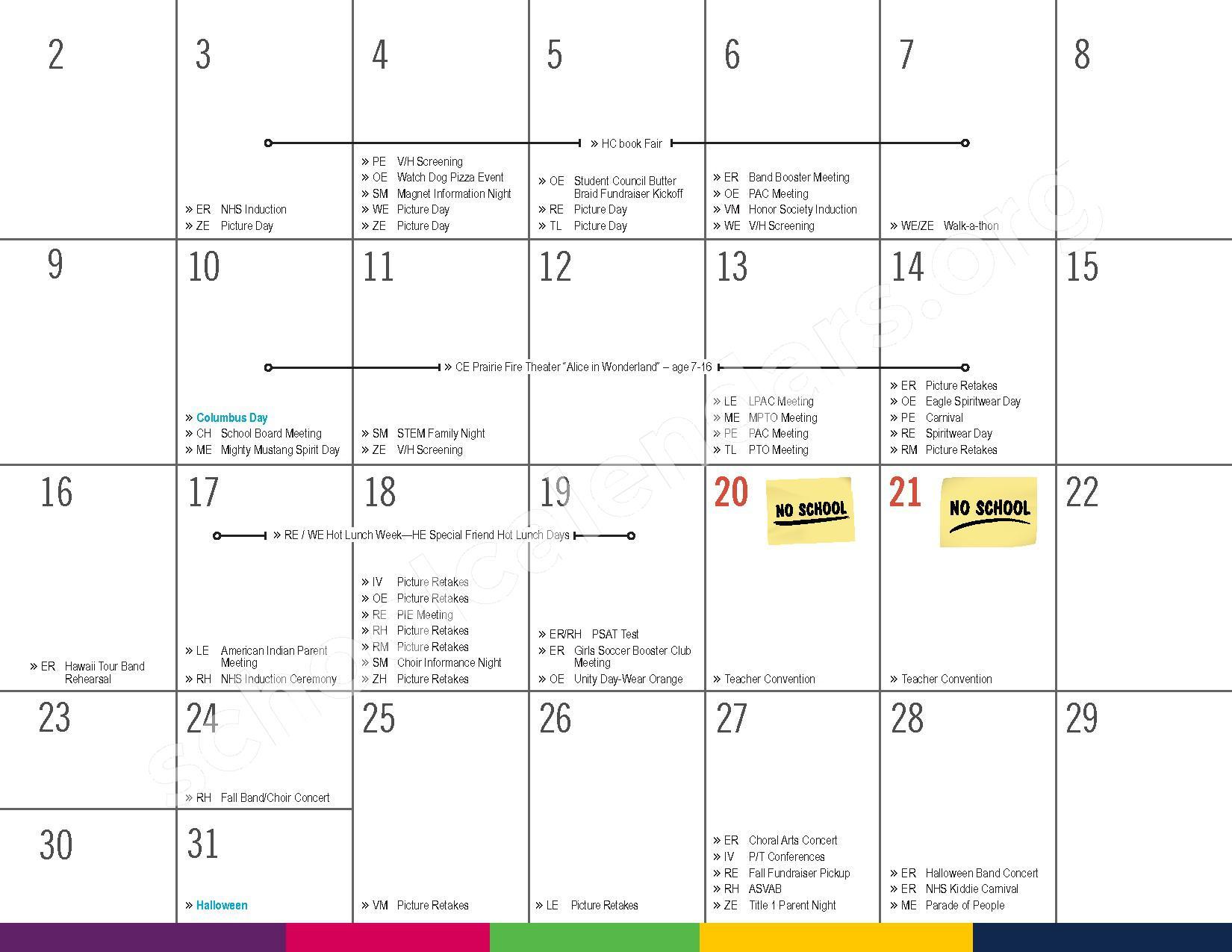 2016 - 2017 District Calendar – Vandenberge Middle School – page 9