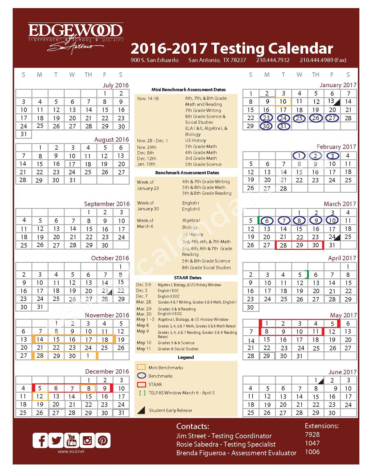 2016 - 2017 School Calendar – Edgewood Independent School District (Bexar County) – page 1