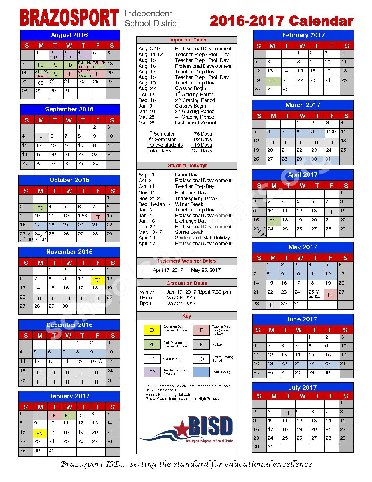 2016 - 2017 School Calendar – Brazosport Independent School District – page 1