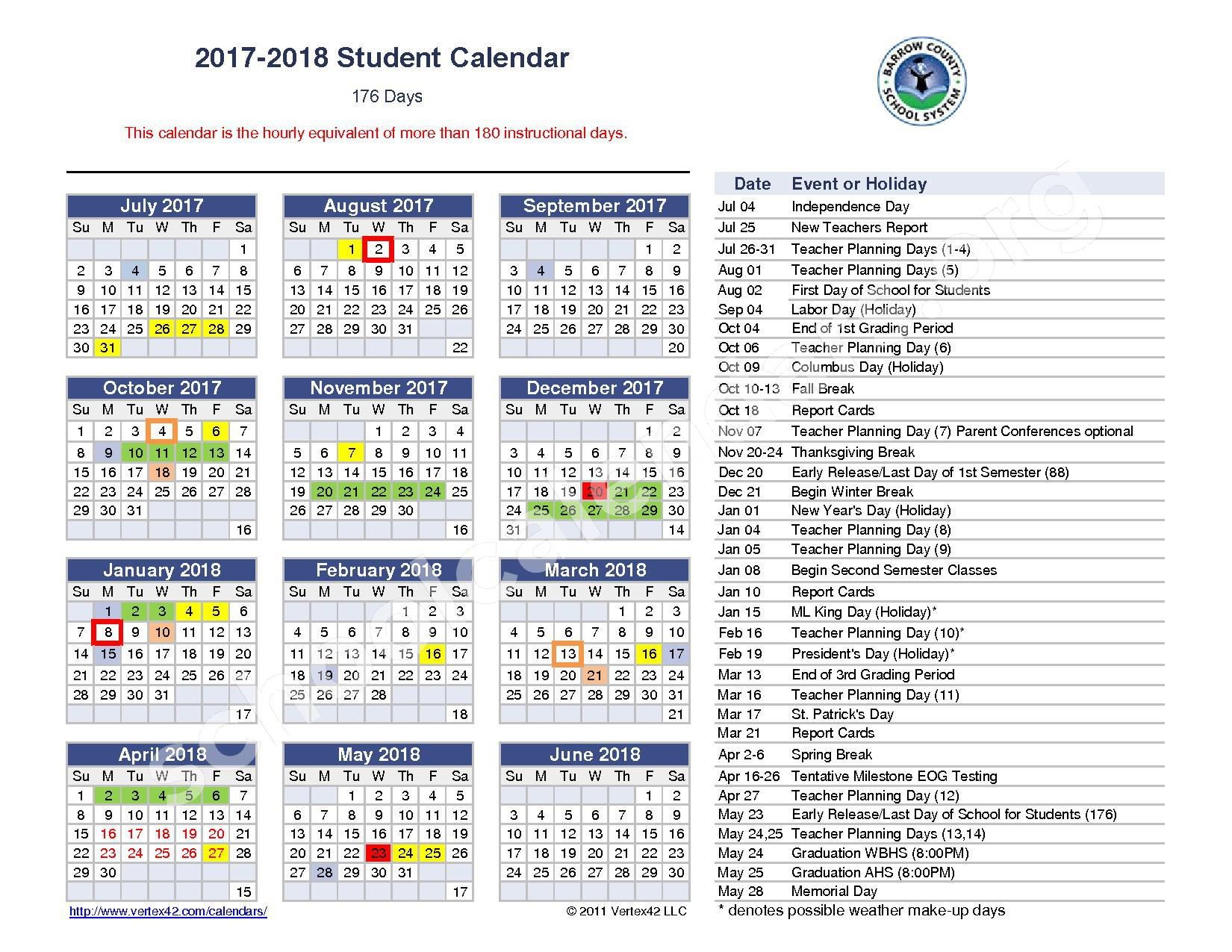 2017 - 2018 Student Calendar – Barrow County School District – page 1