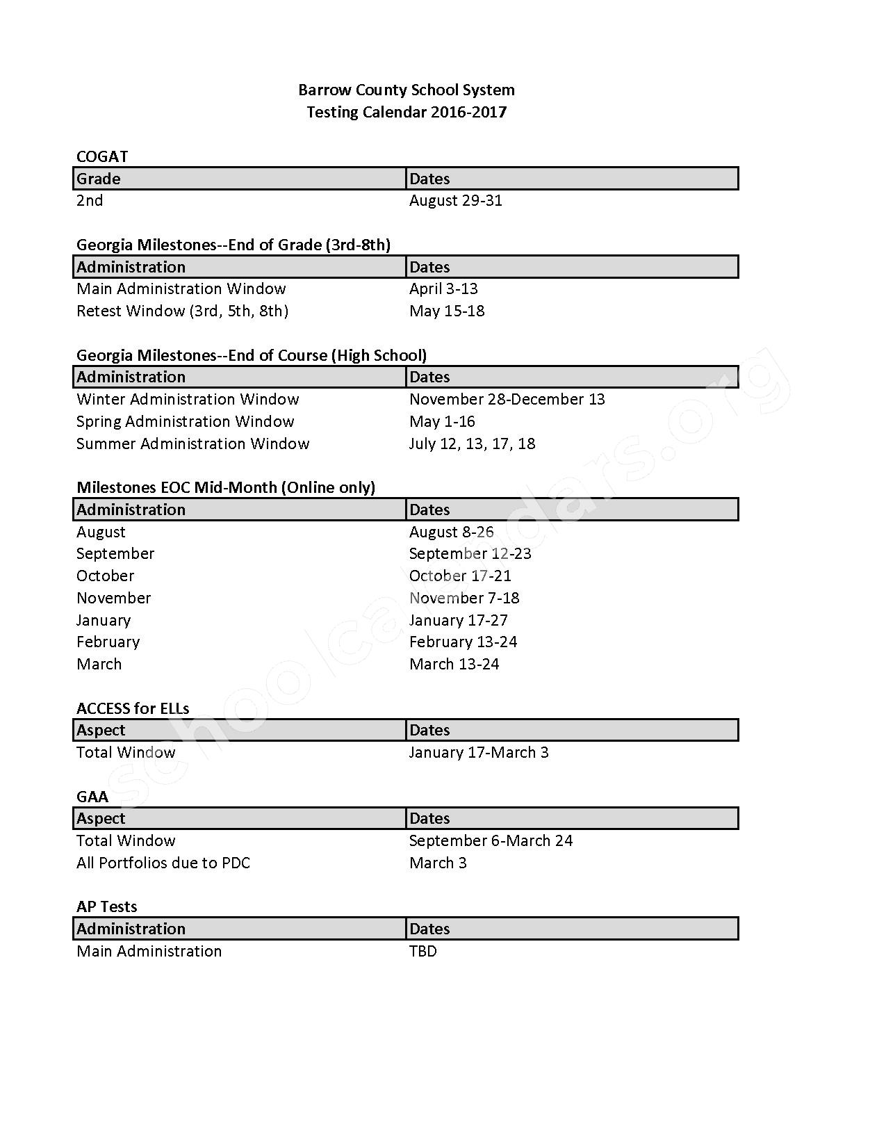 2016 - 2017 Testing Calendar – Barrow County School District – page 1