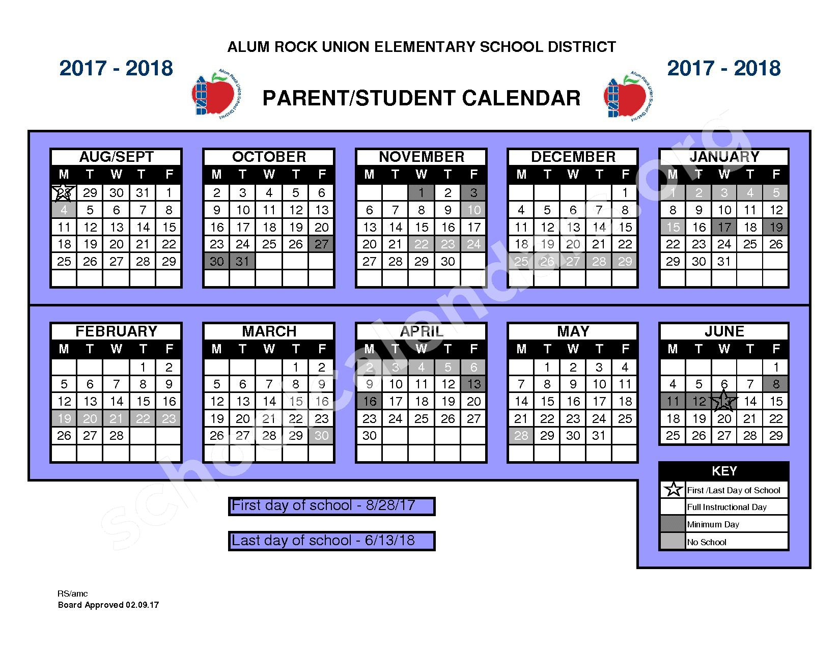 2017 - 2018 ARUSD School Calendar – Alum Rock Union Elementary School District – page 1