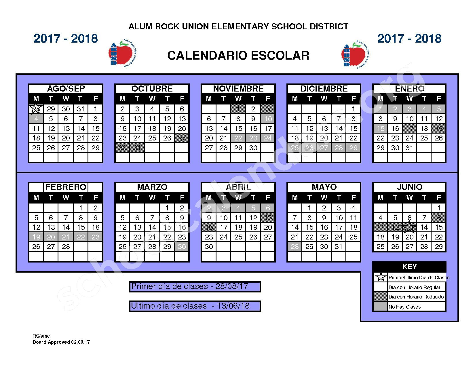 2017 - 2018 Calendario Escolar – Alum Rock Union Elementary School District – page 1