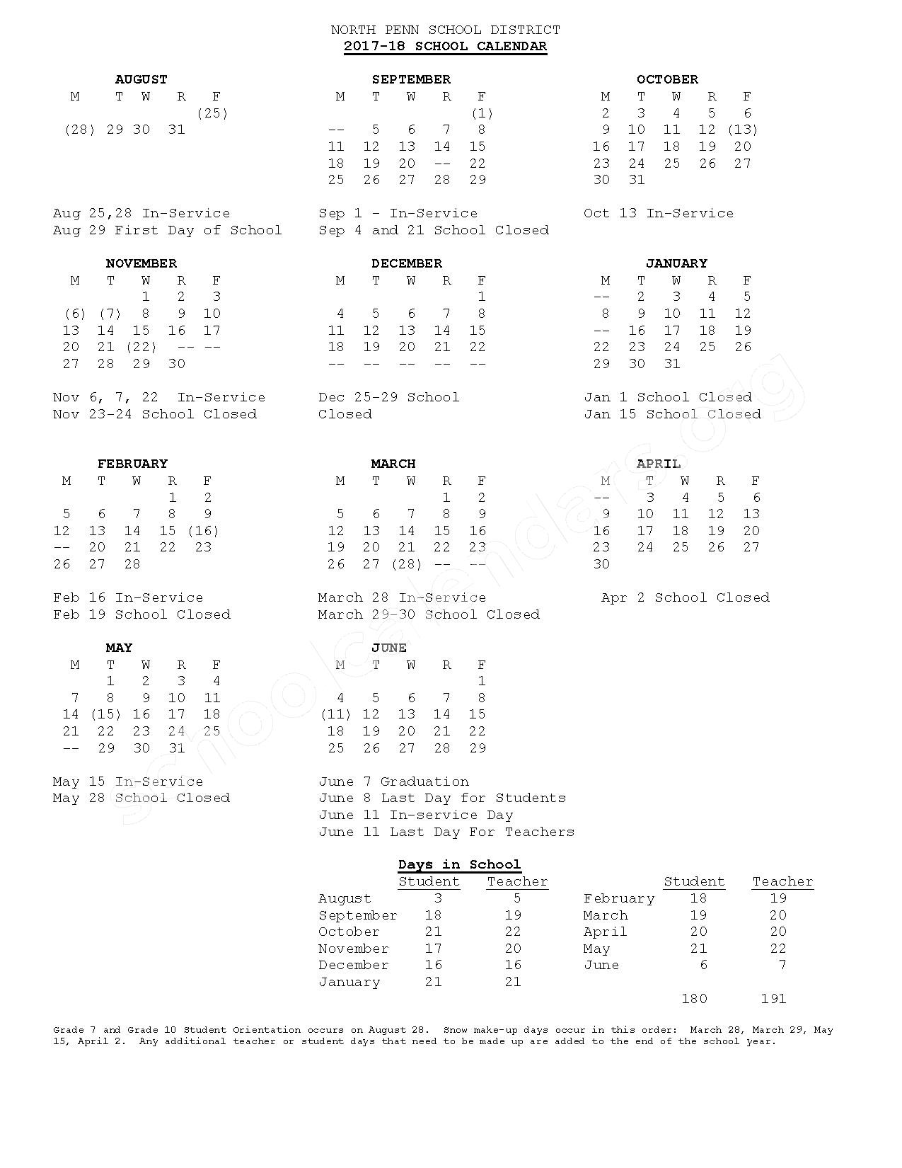 2017 - 2018 School Calendar – North Penn Senior High School – page 1