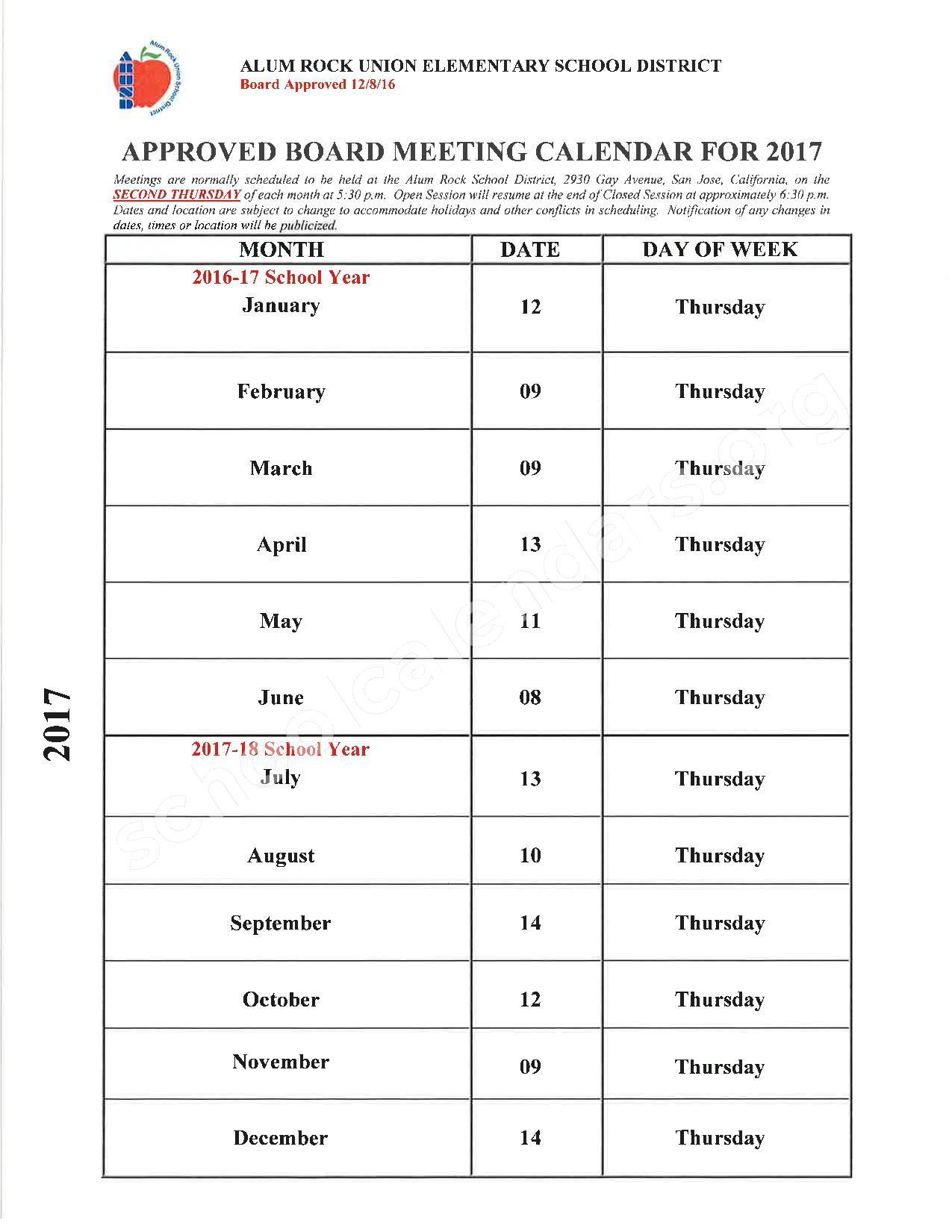 2017 School Board Meeting Calendar – Alum Rock Union Elementary School District – page 1