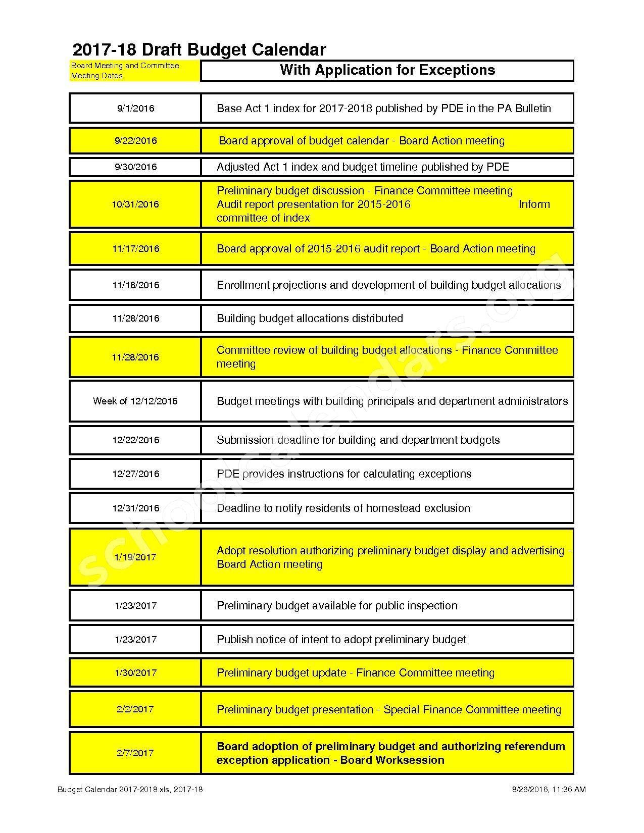 2017 - 2018 School Calendar – North Penn School District – page 1