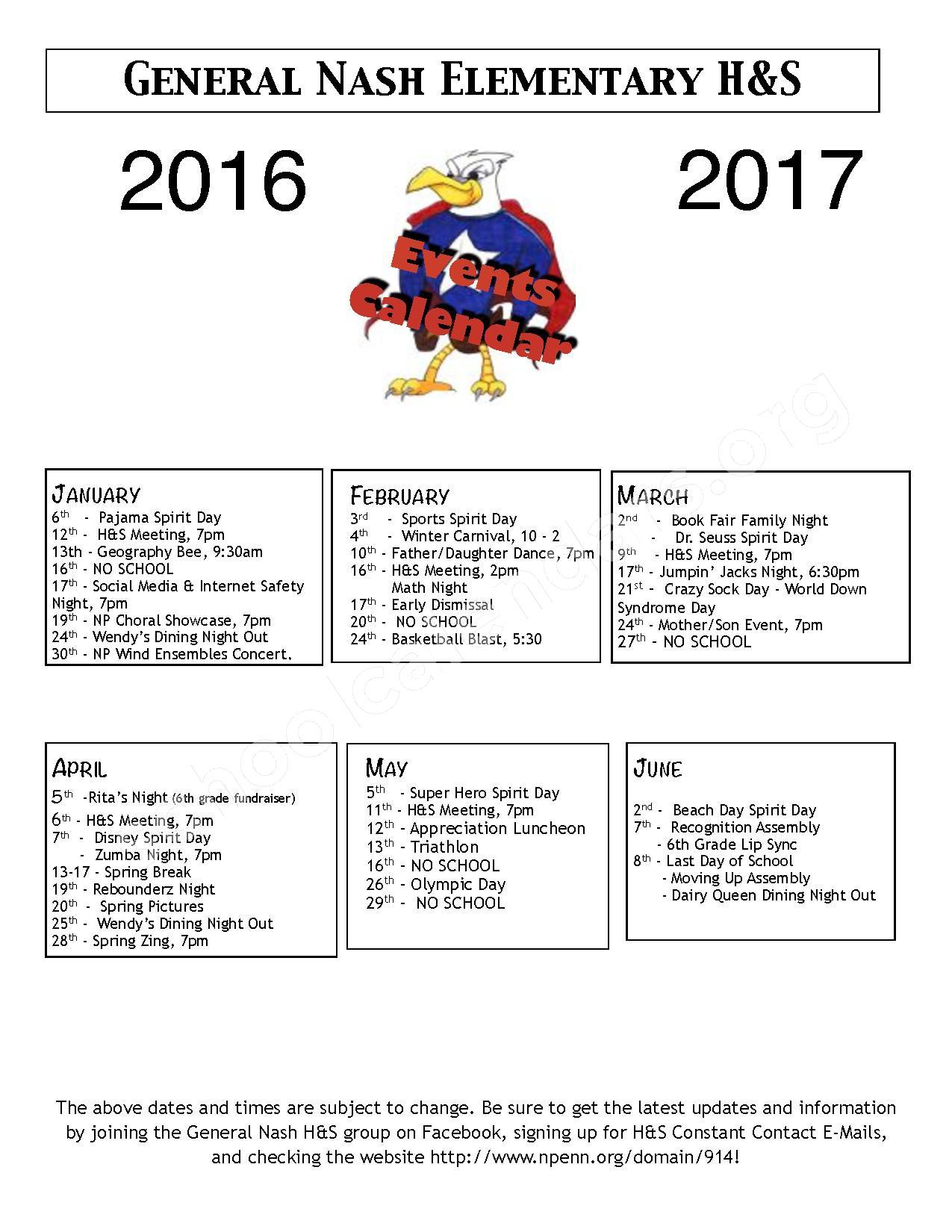2016 - 2017 School Calendar – North Penn School District – page 1