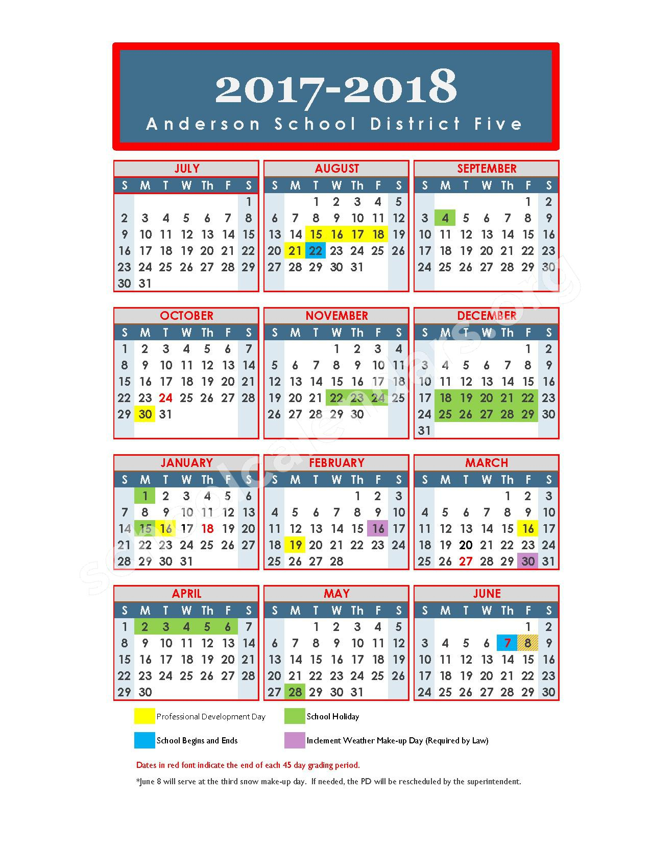 2017 - 2018 School Calendar – Varennes Academy of Communication & Technology – page 1