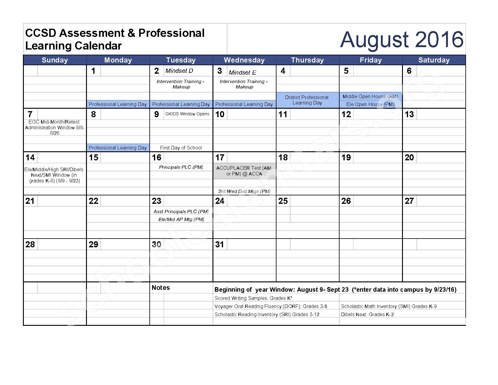 2016 - 2017 Assessment Calendar – Clarke County School District – page 1
