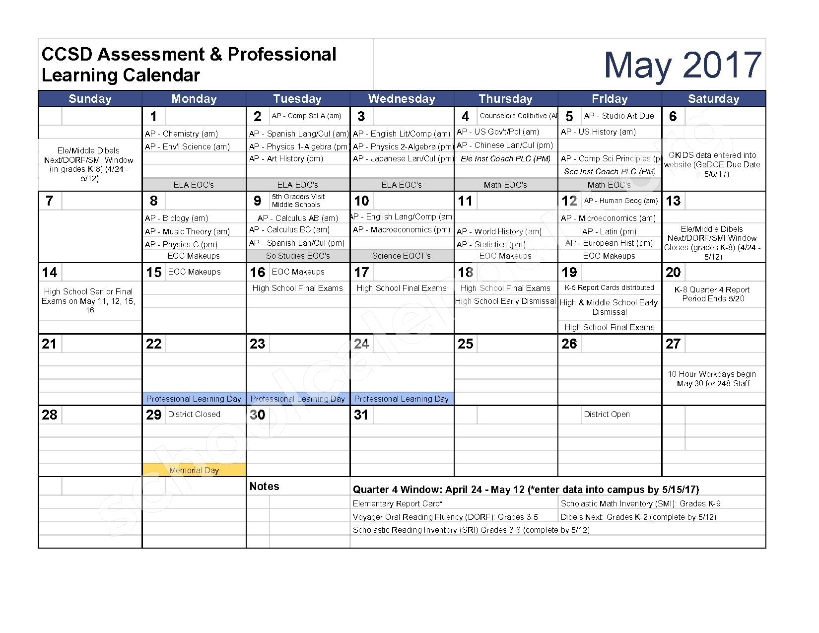 2016 - 2017 Assessment Calendar – Clarke County School District – page 10
