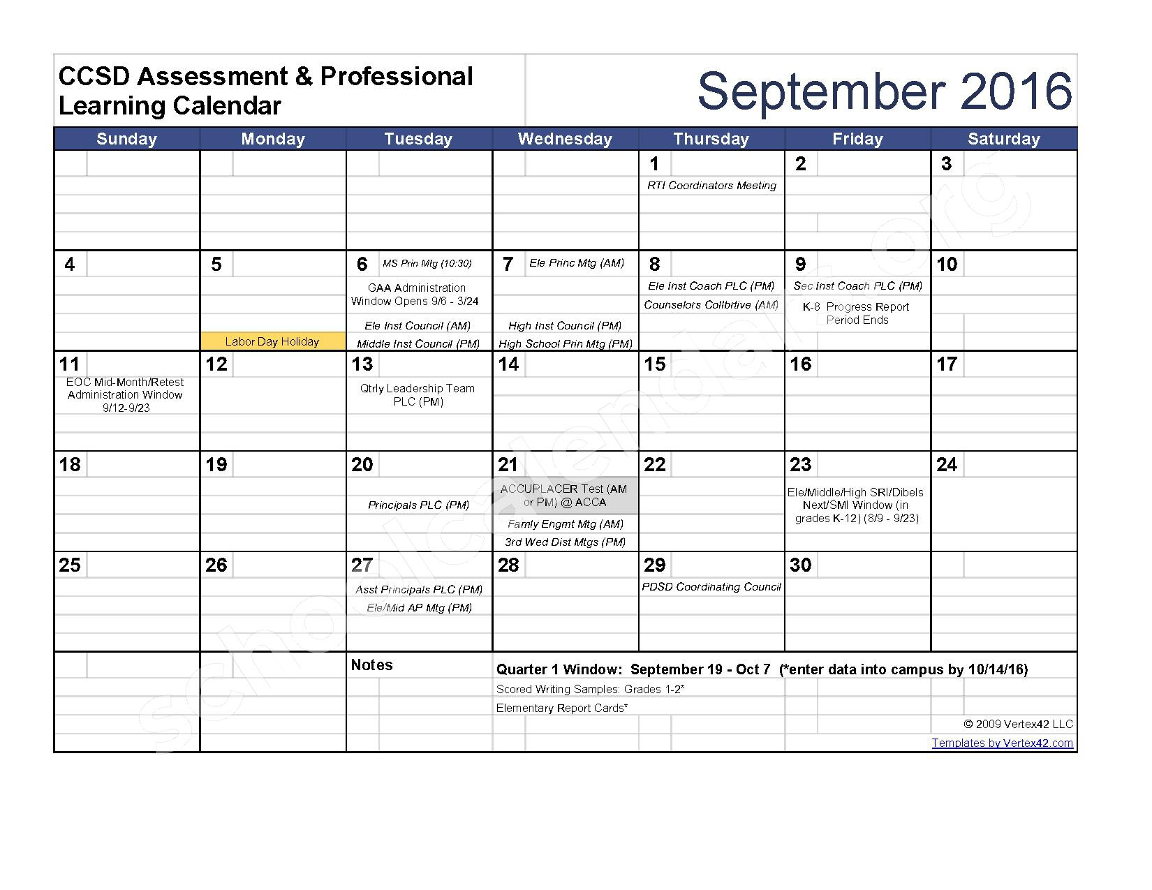 2016 - 2017 Assessment Calendar – Clarke County School District – page 2