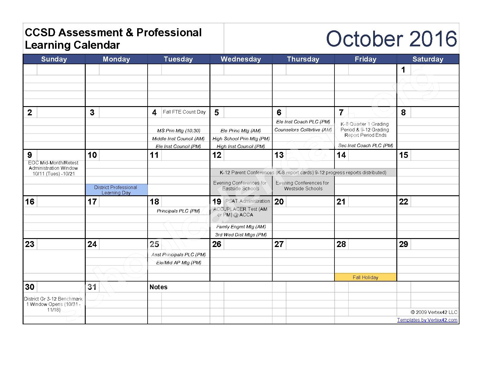 2016 - 2017 Assessment Calendar – Clarke County School District – page 3