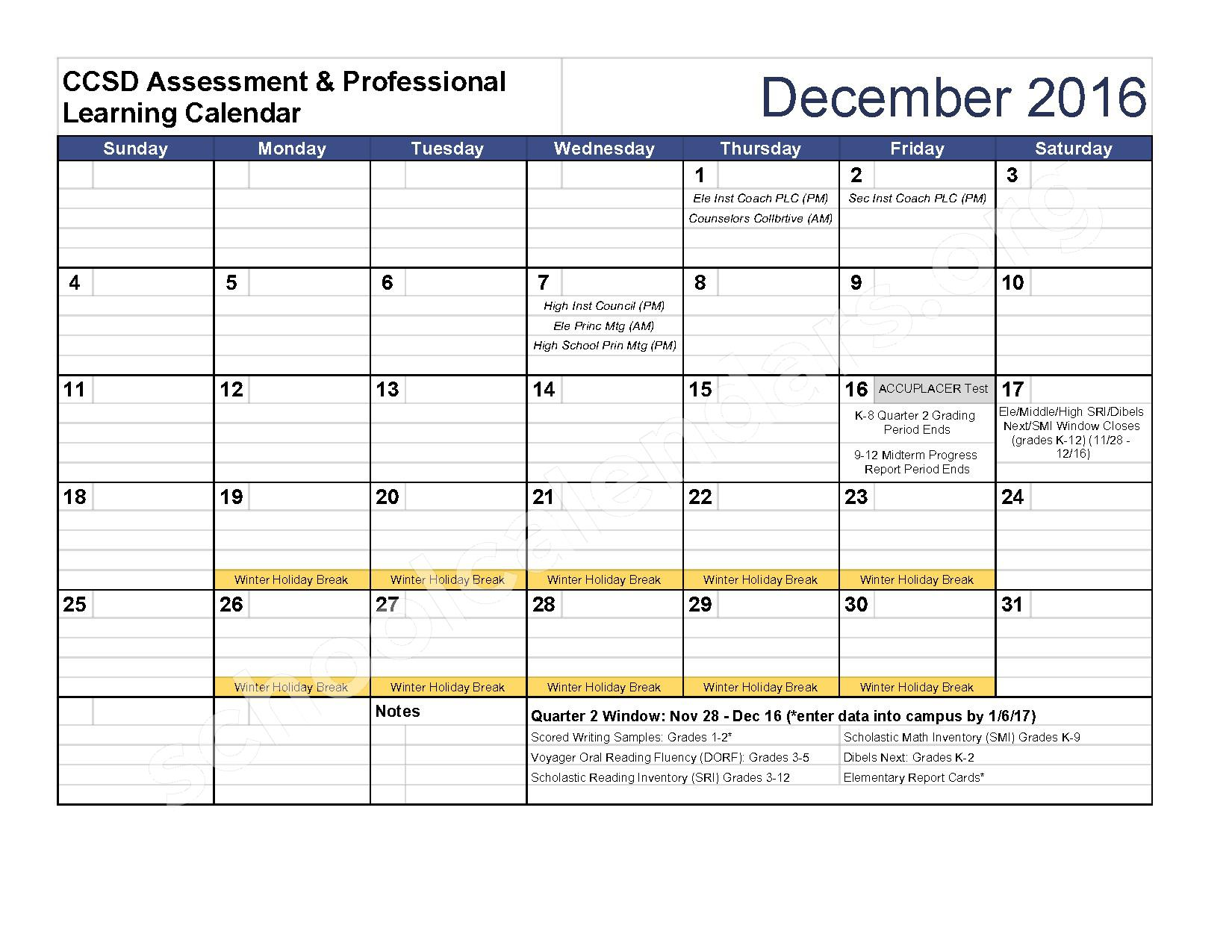 2016 - 2017 Assessment Calendar – Clarke County School District – page 5