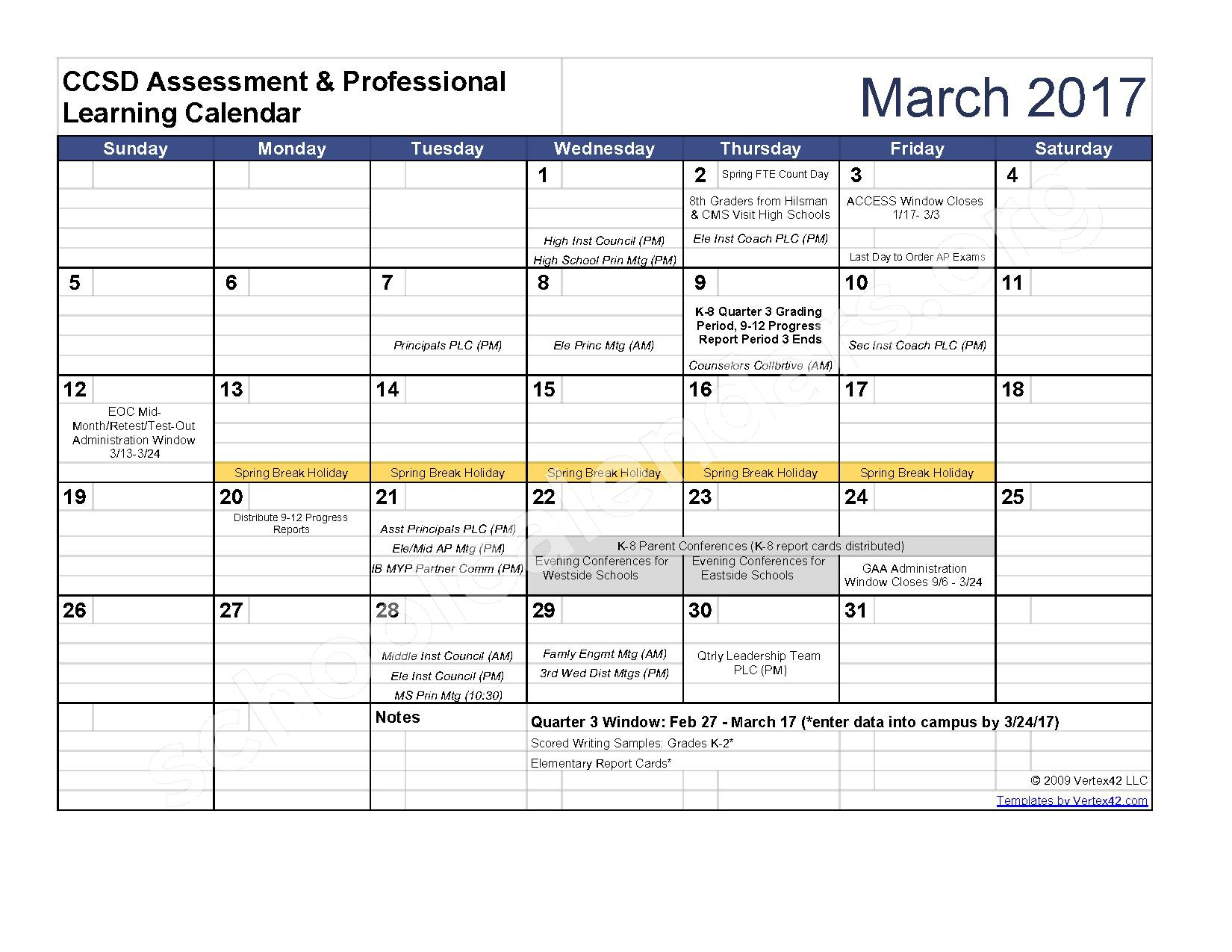 2016 - 2017 Assessment Calendar – Clarke County School District – page 8