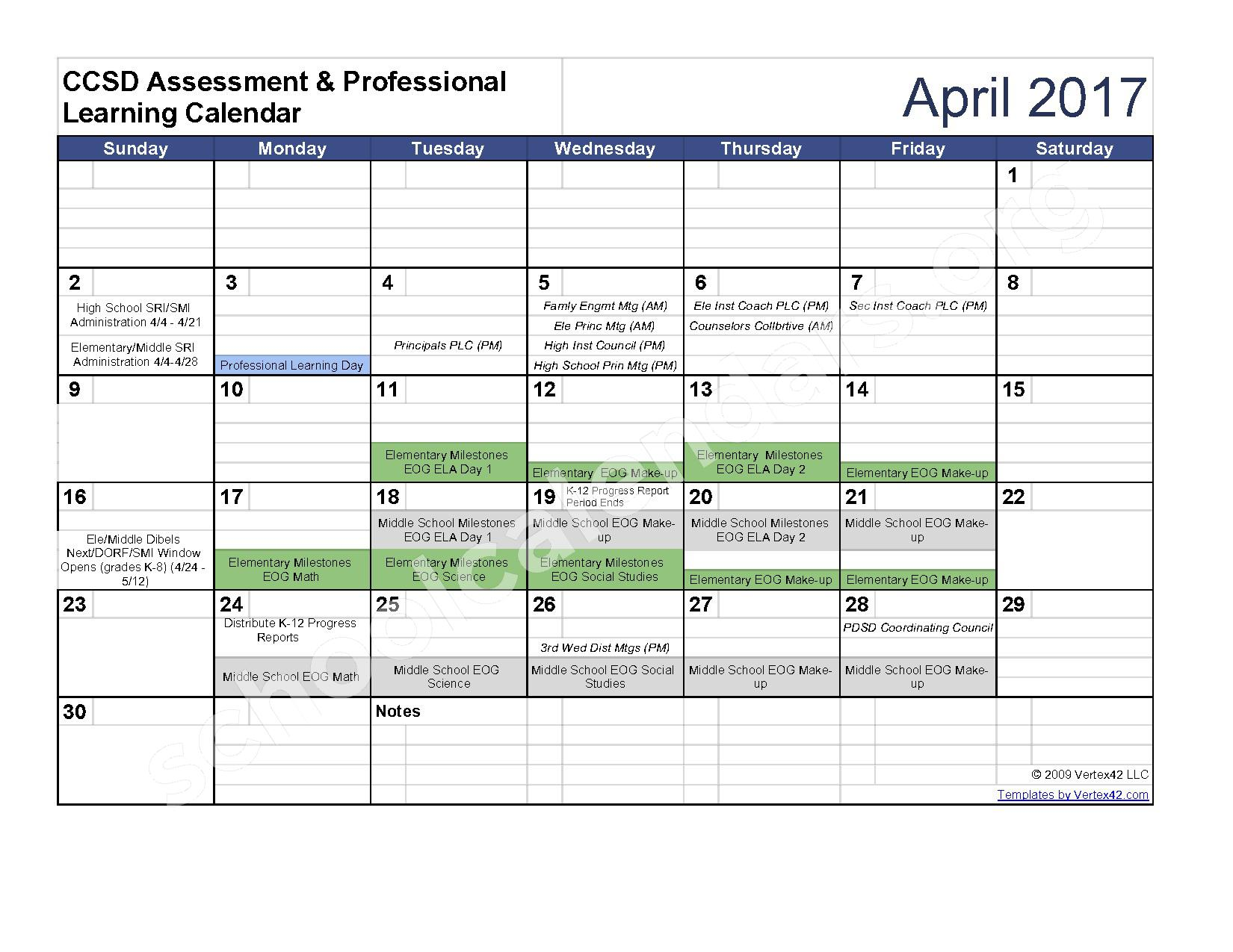 2016 - 2017 Assessment Calendar – Clarke County School District – page 9