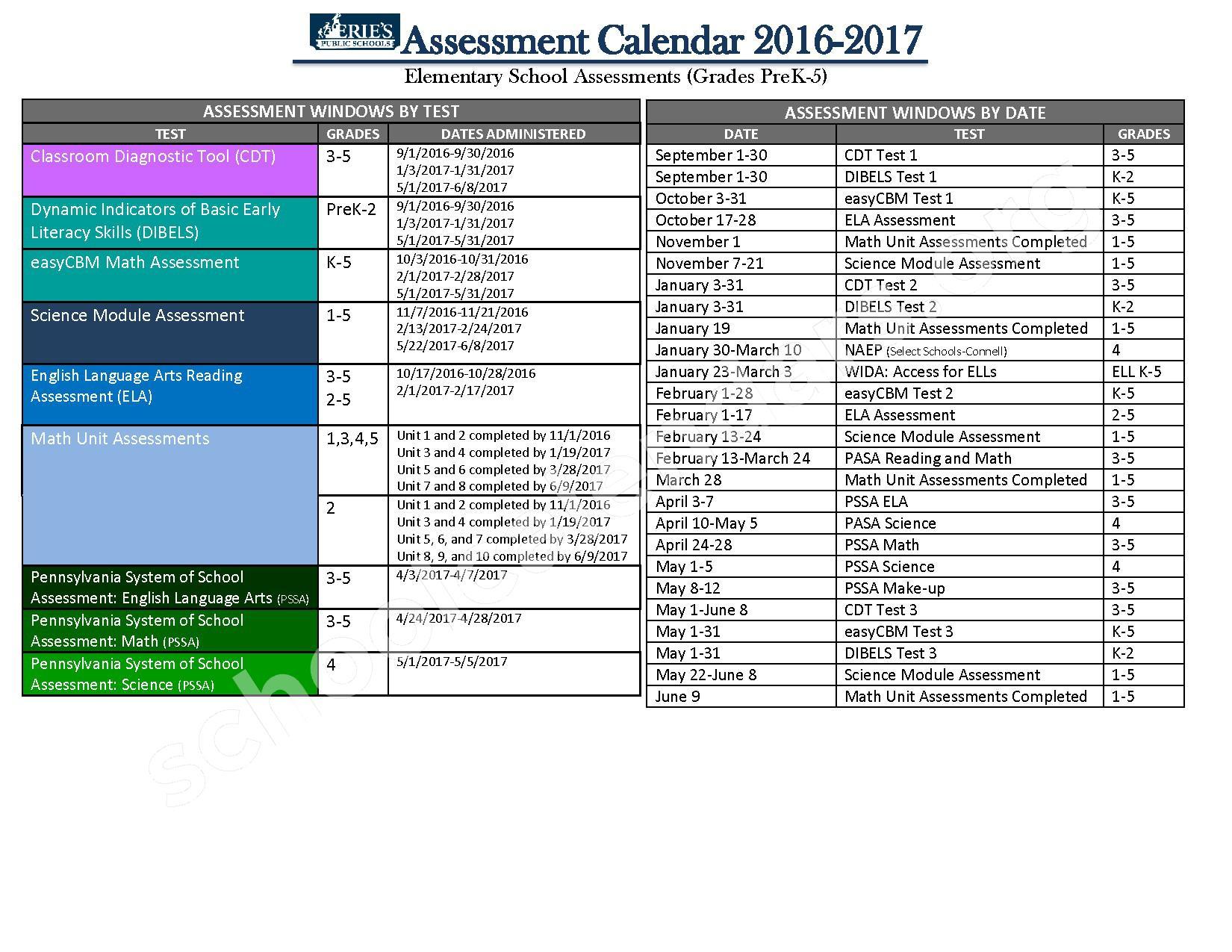 2016 - 2017 Elementary School Calendar – Burton Elementary School – page 1