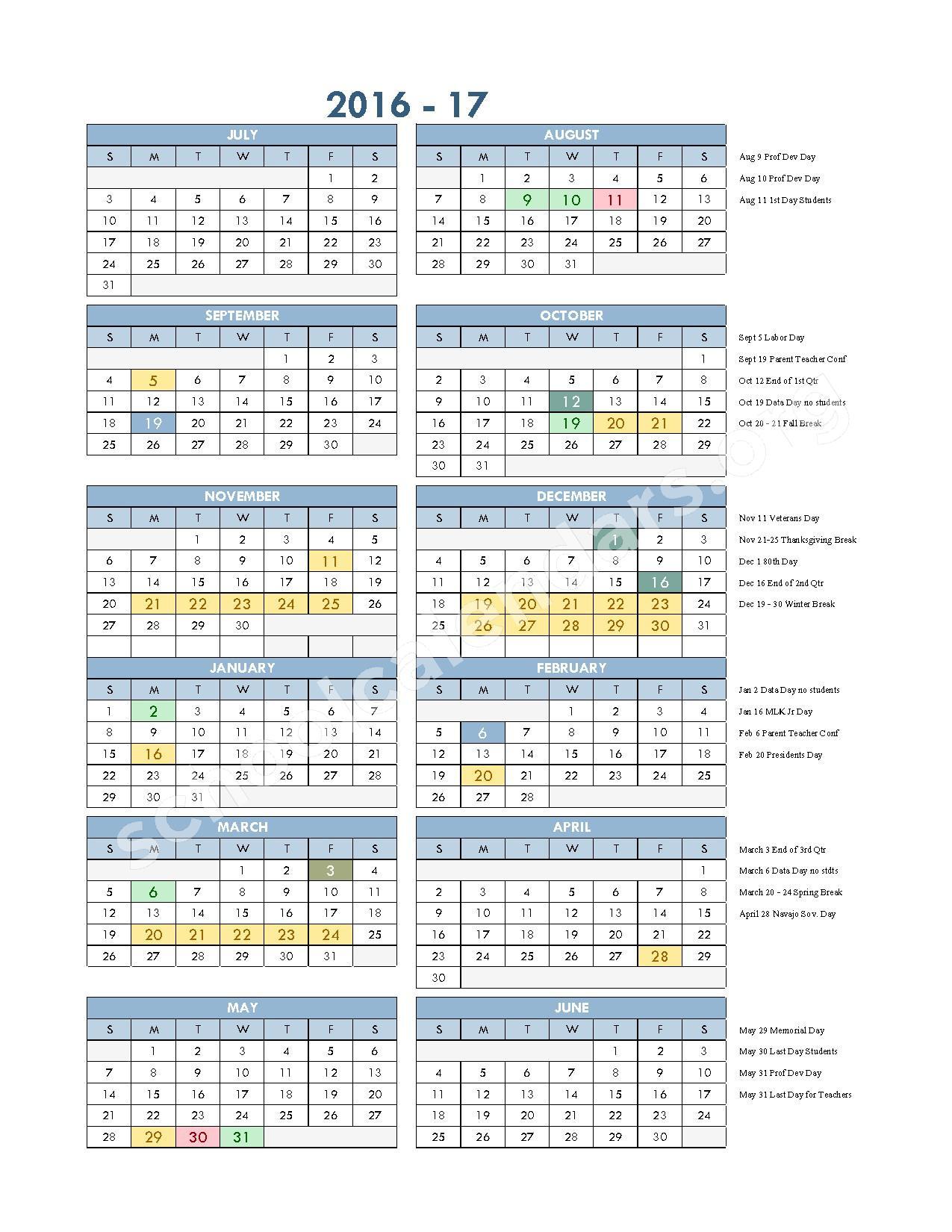 2016 - 2017 School Calendar – Gallup-Mckinley County Schools – page 1