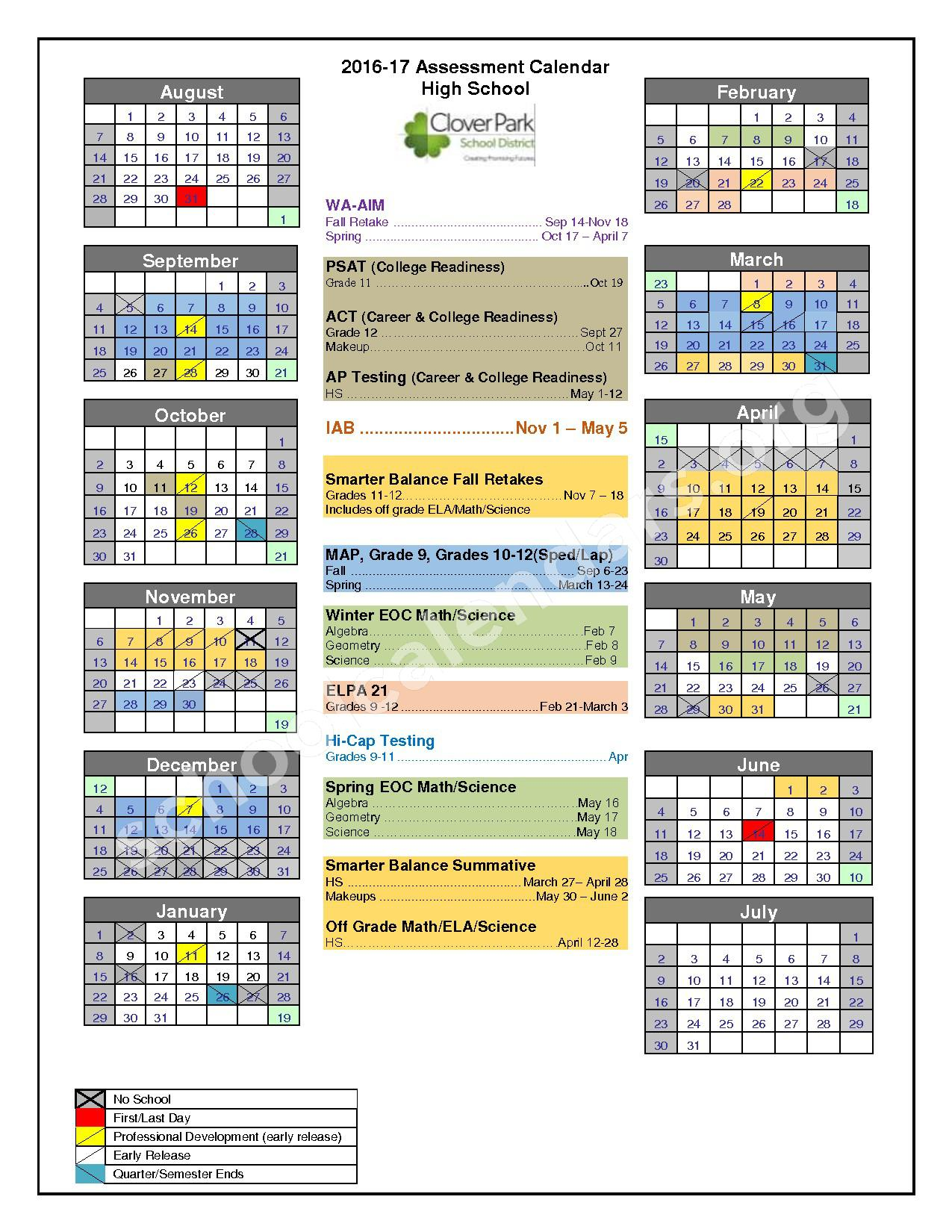 2016 - 2017 District Calendar – Clover Park School District – page 1