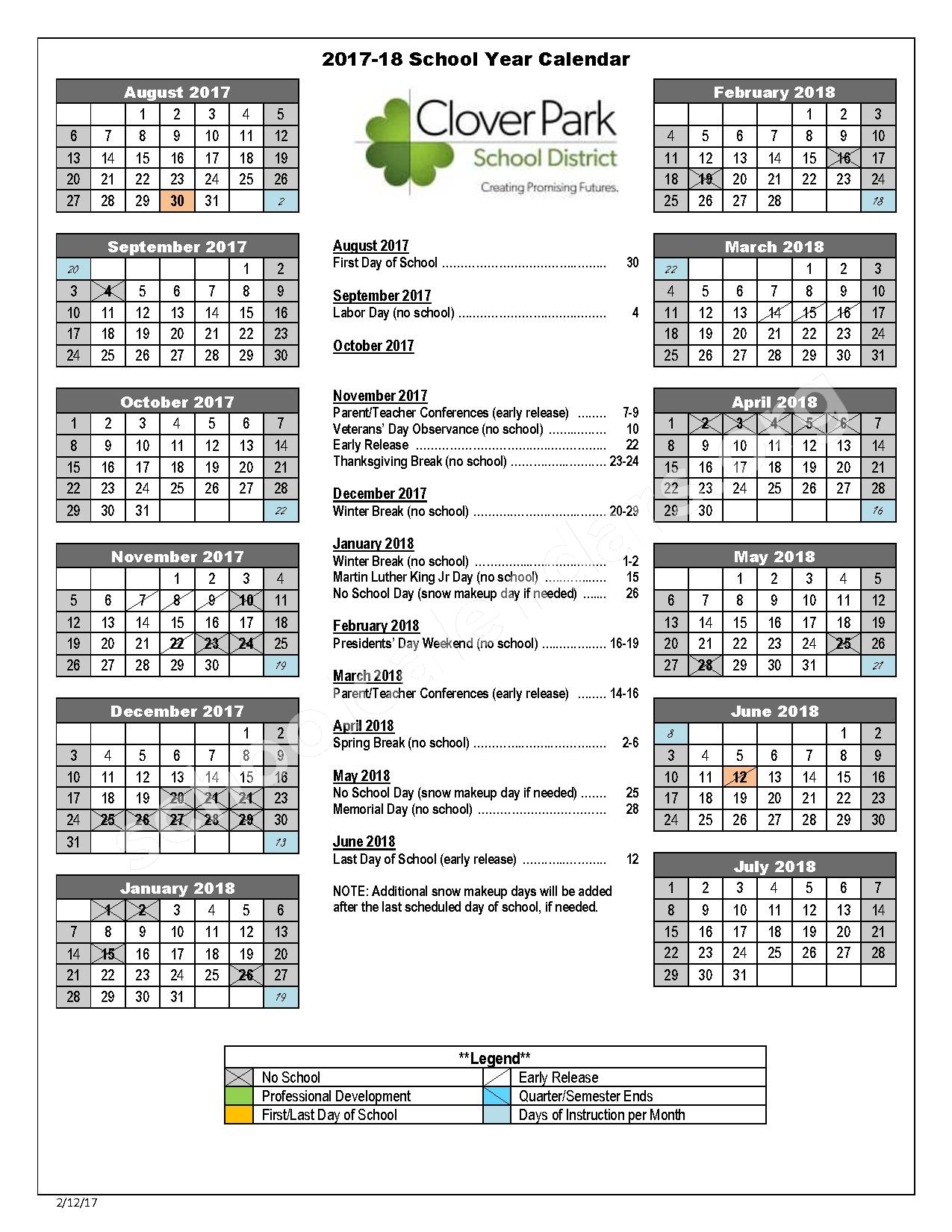 2017 - 2018 School Calendar – Clover Park School District – page 1
