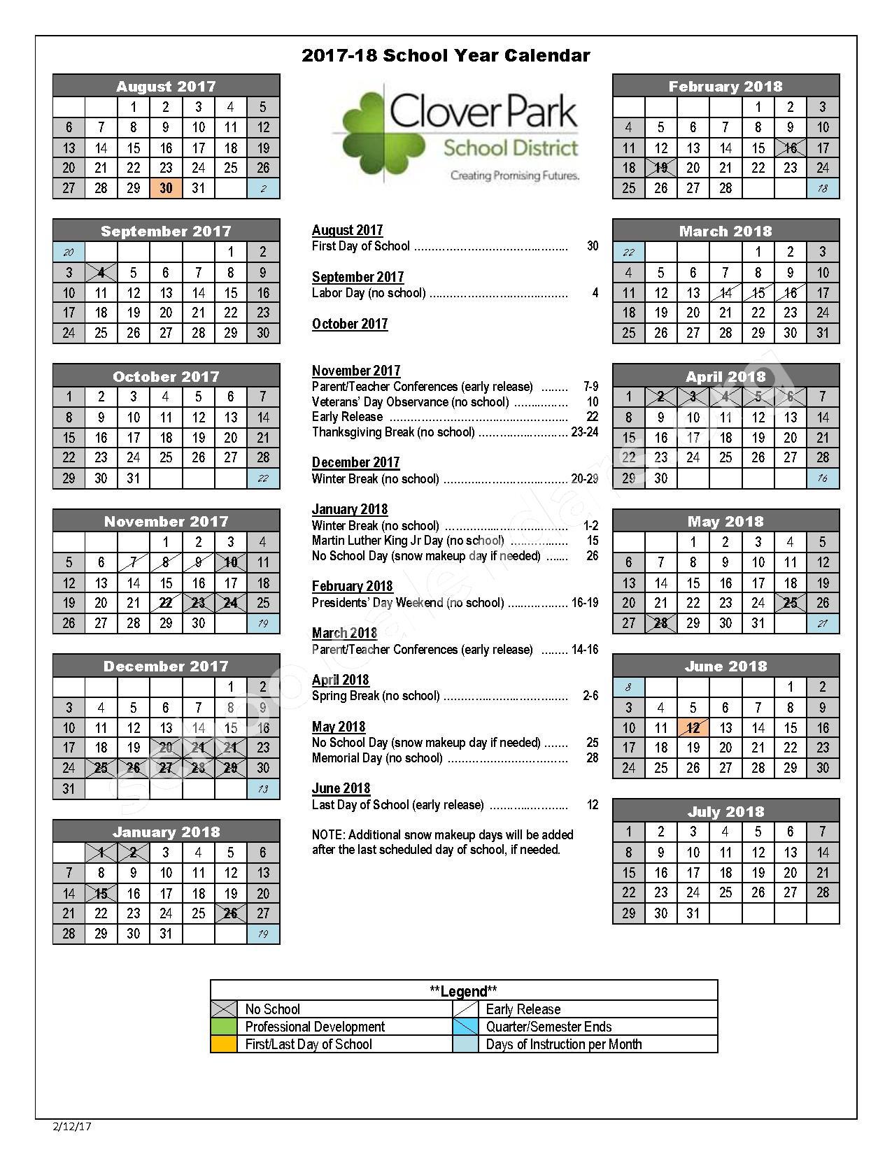 2017 - 2018 School Calendar – Custer Elementary School – page 1