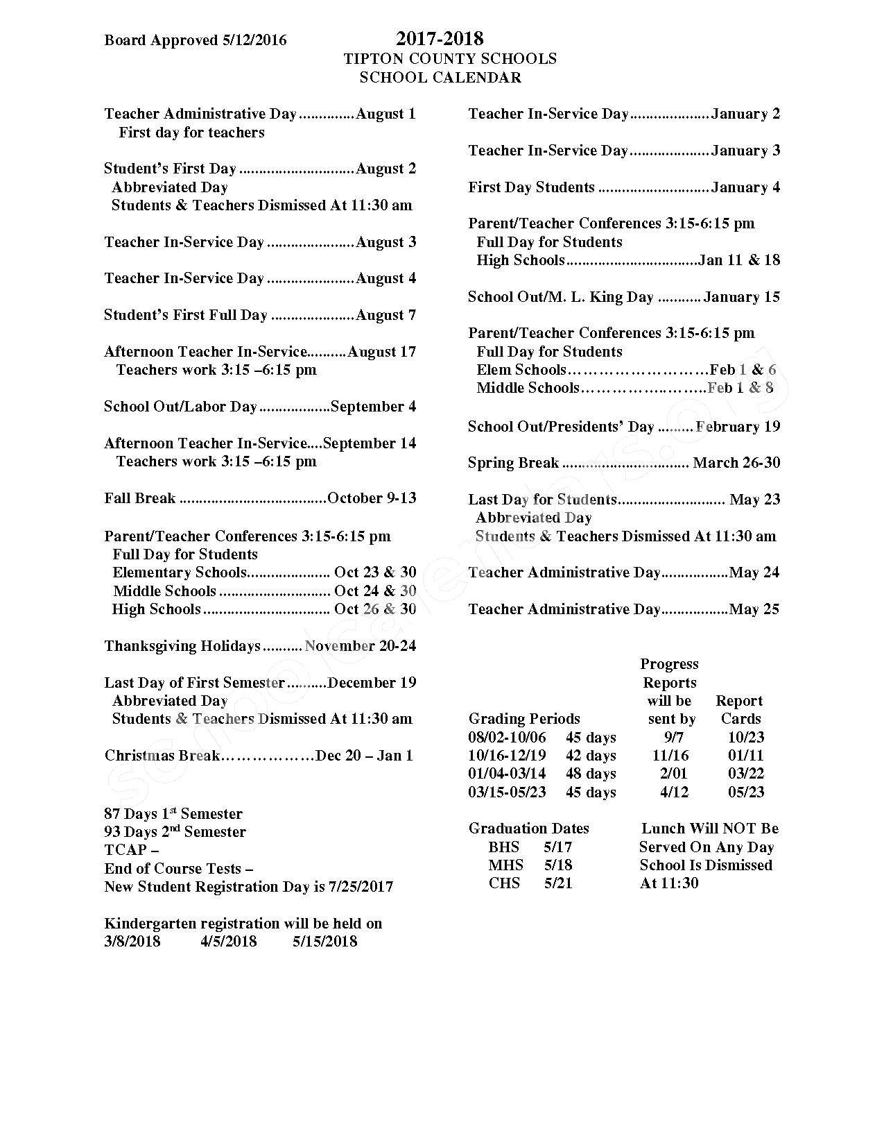 2017 - 2018 School Year – Tipton County Schools – page 1