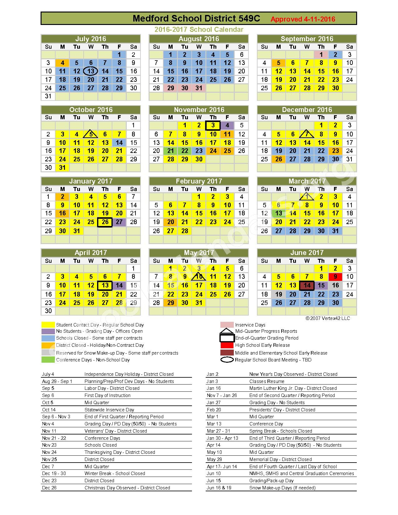 2016 - 2017 District Calendar – Oak Grove Elementary School – page 1