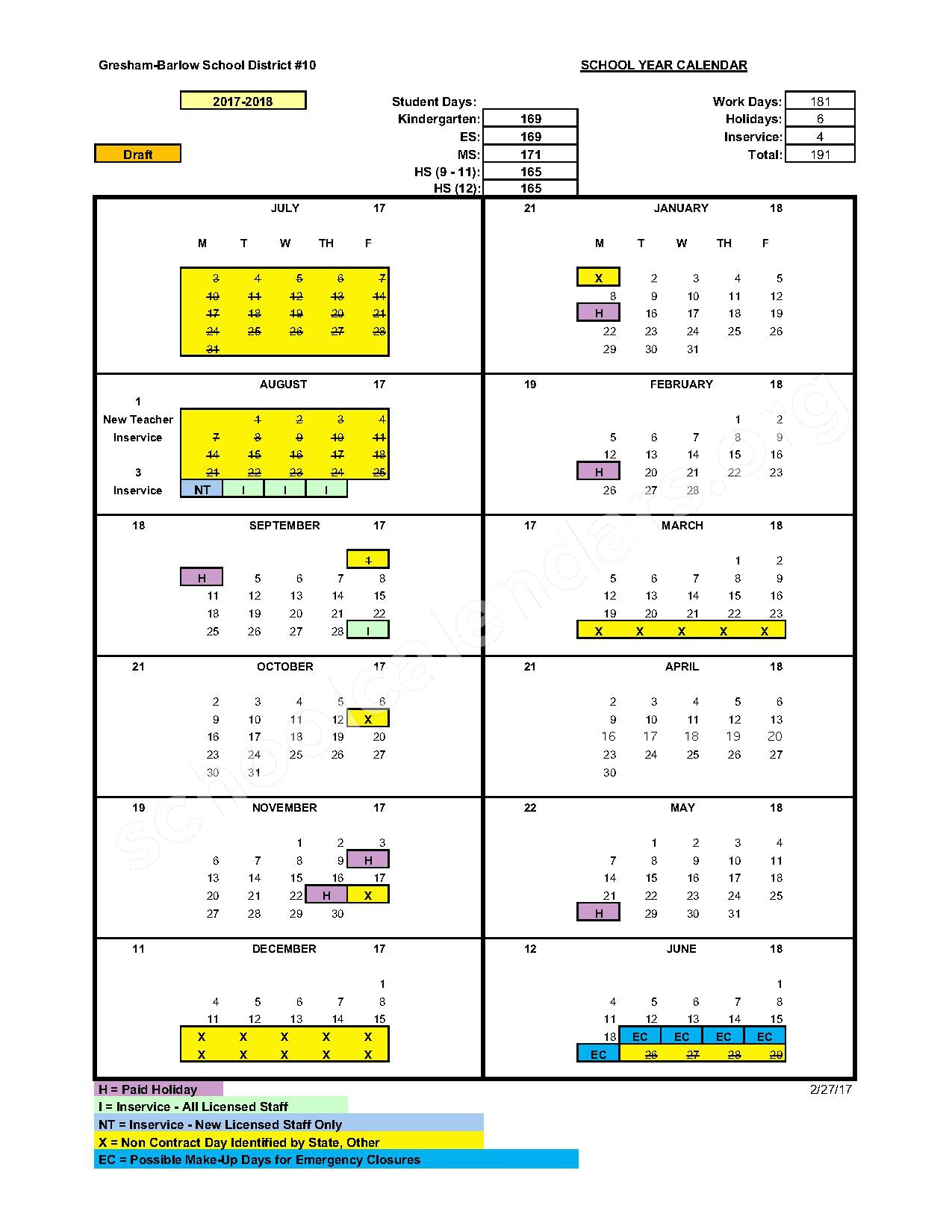 2016 - 2017 District Calendar – Damascus Middle School – page 2