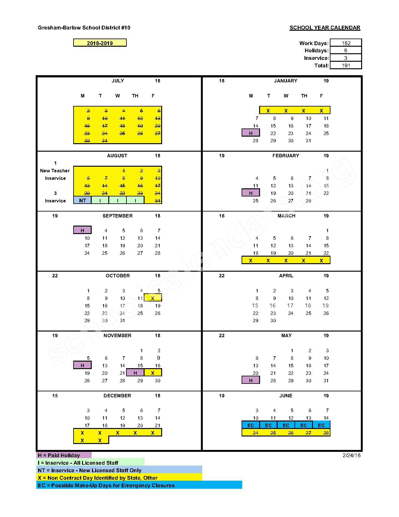 2016 - 2017 District Calendar – Damascus Middle School – page 3