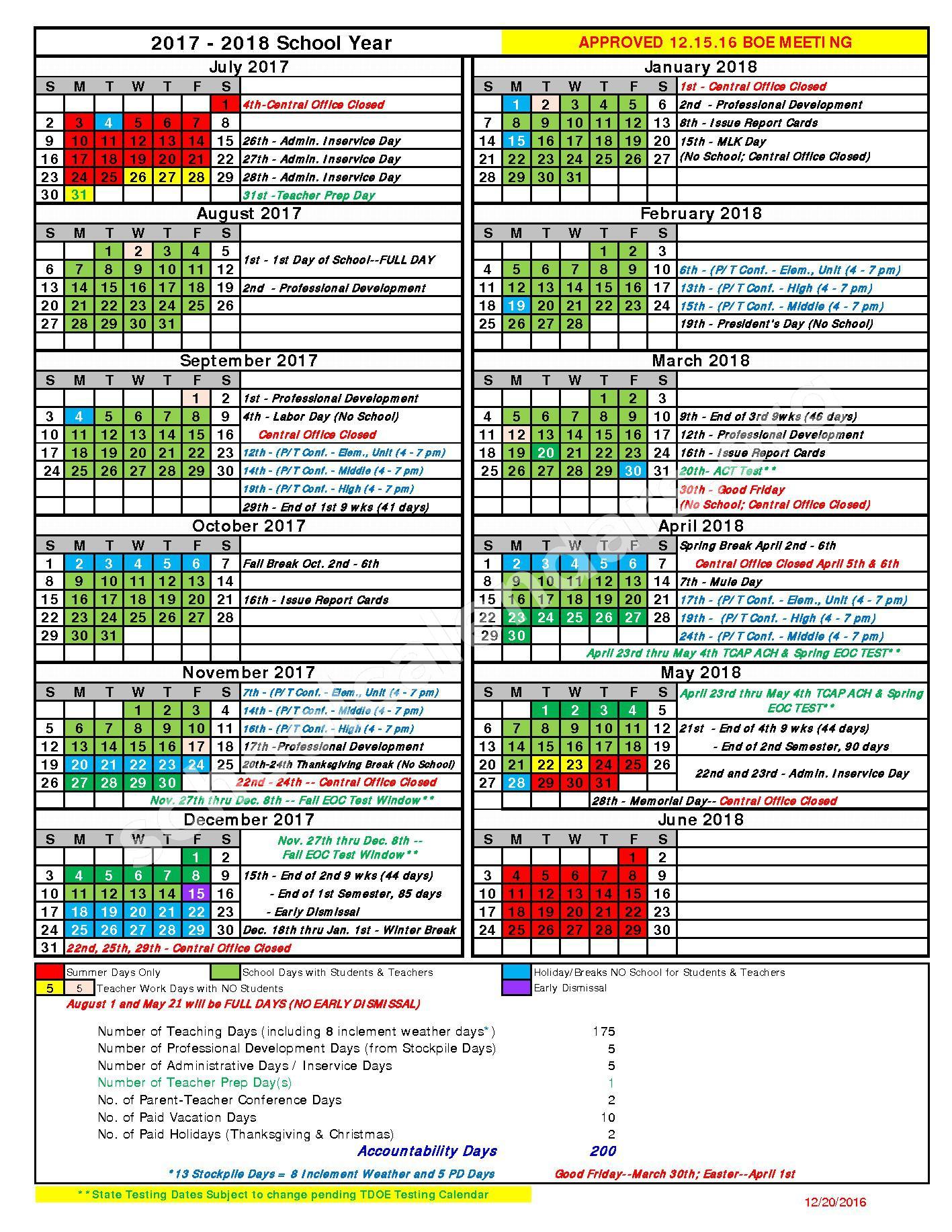2017 - 2018 School Calendar – Maury County Schools – page 1