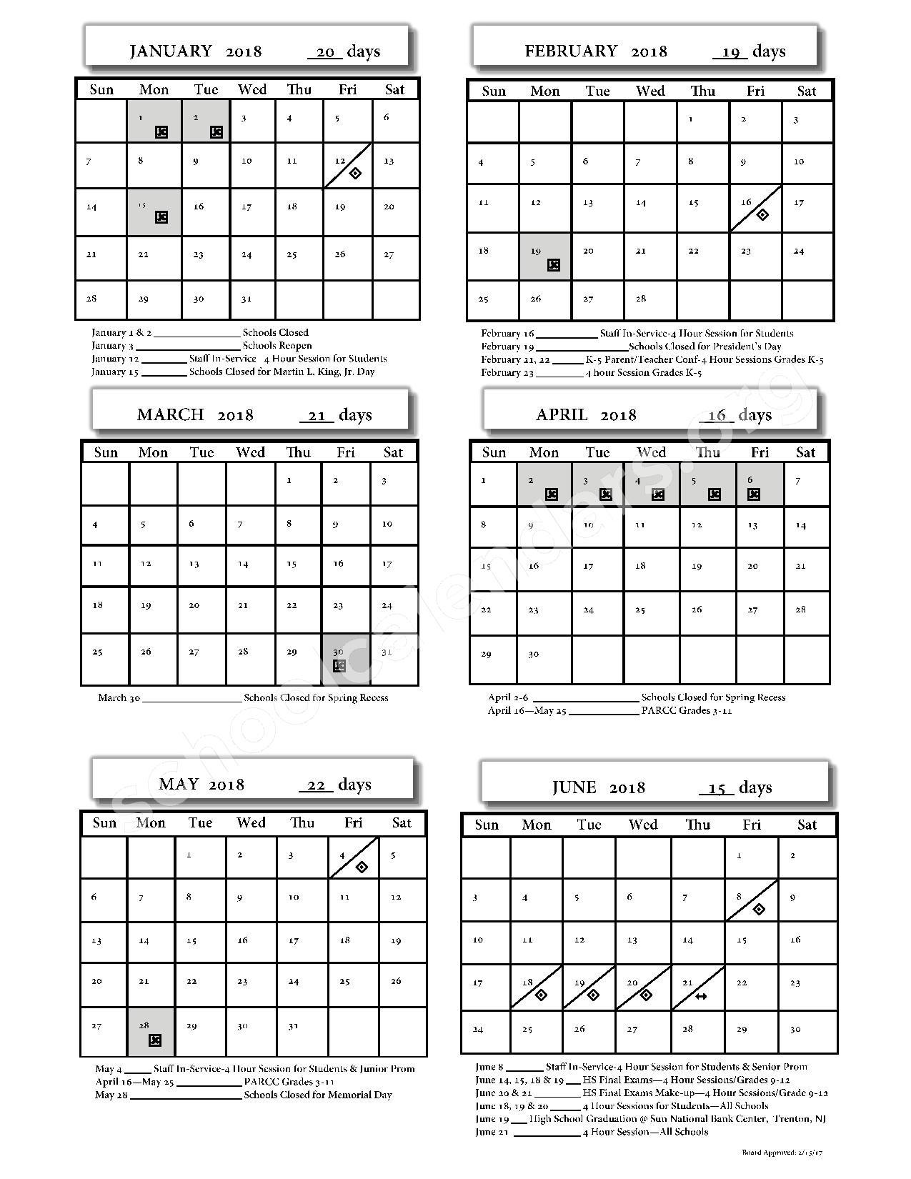 2017 - 2018 School Calendar – Monroe Township School District – page 2