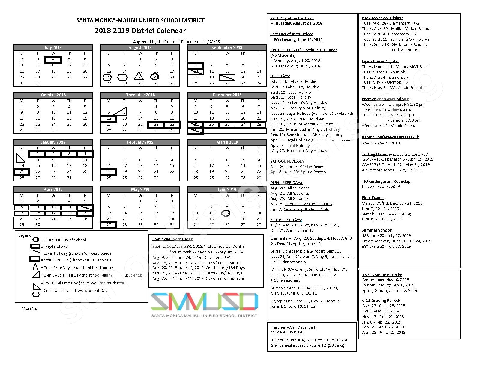 2018 - 2019 District Calendar – Santa Monica Alternative (K-8) – page 1