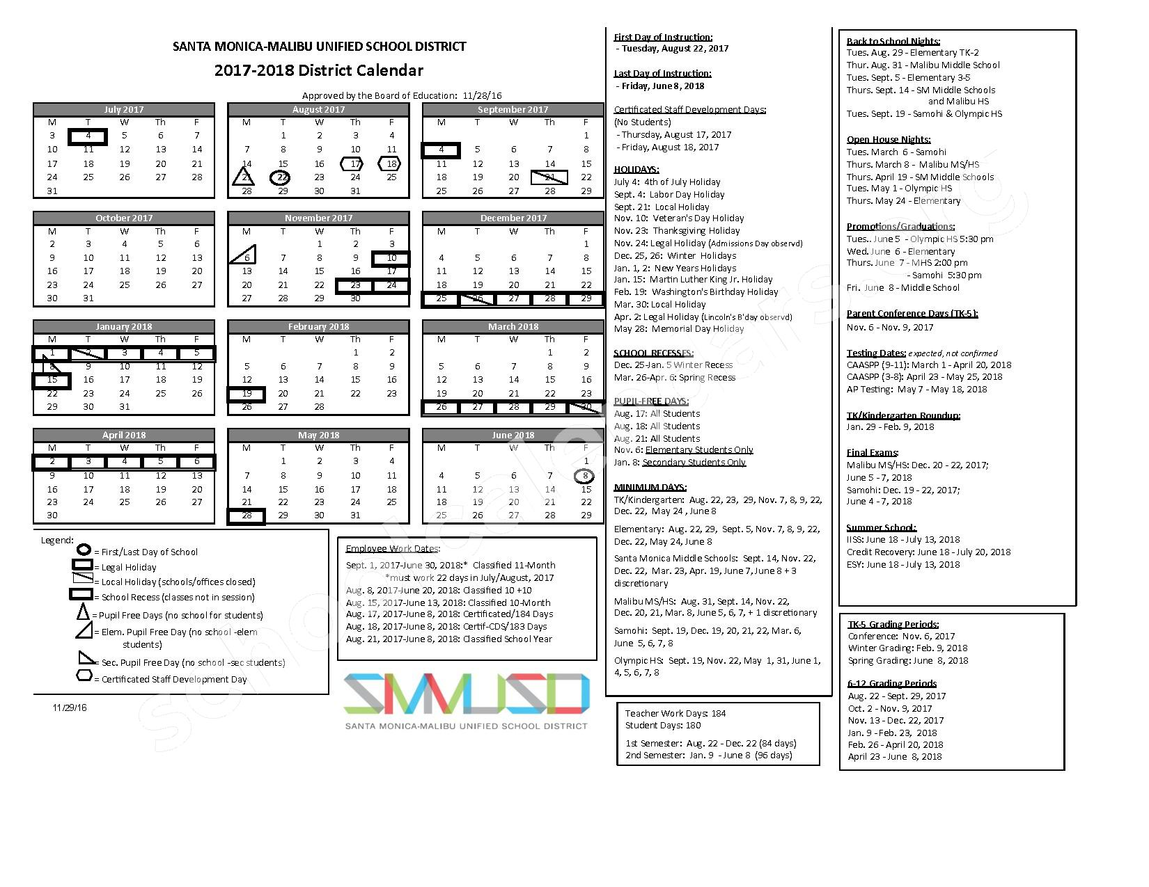 2017 - 2018 School Calendar – Santa Monica-Malibu Unified School District – page 1