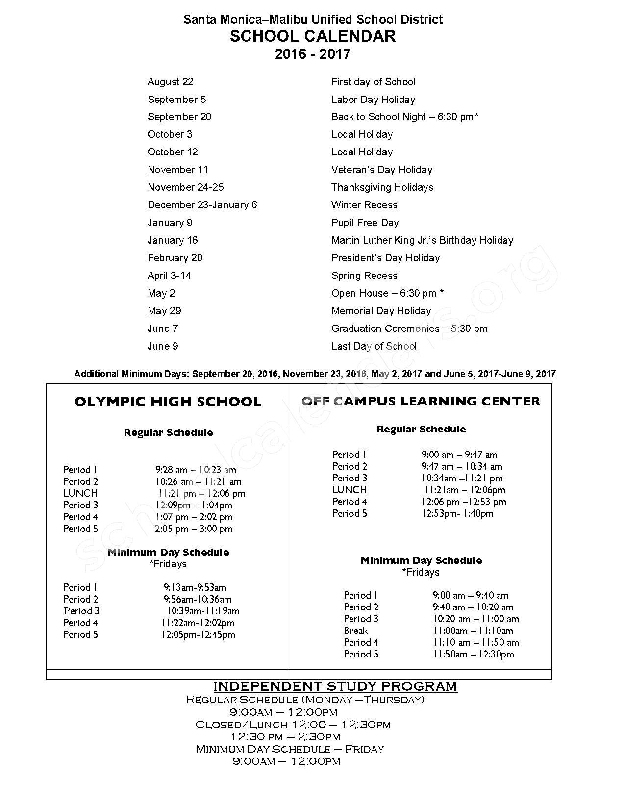 2016 - 2017 School Calendar – Santa Monica Alternative (K-8) – page 1