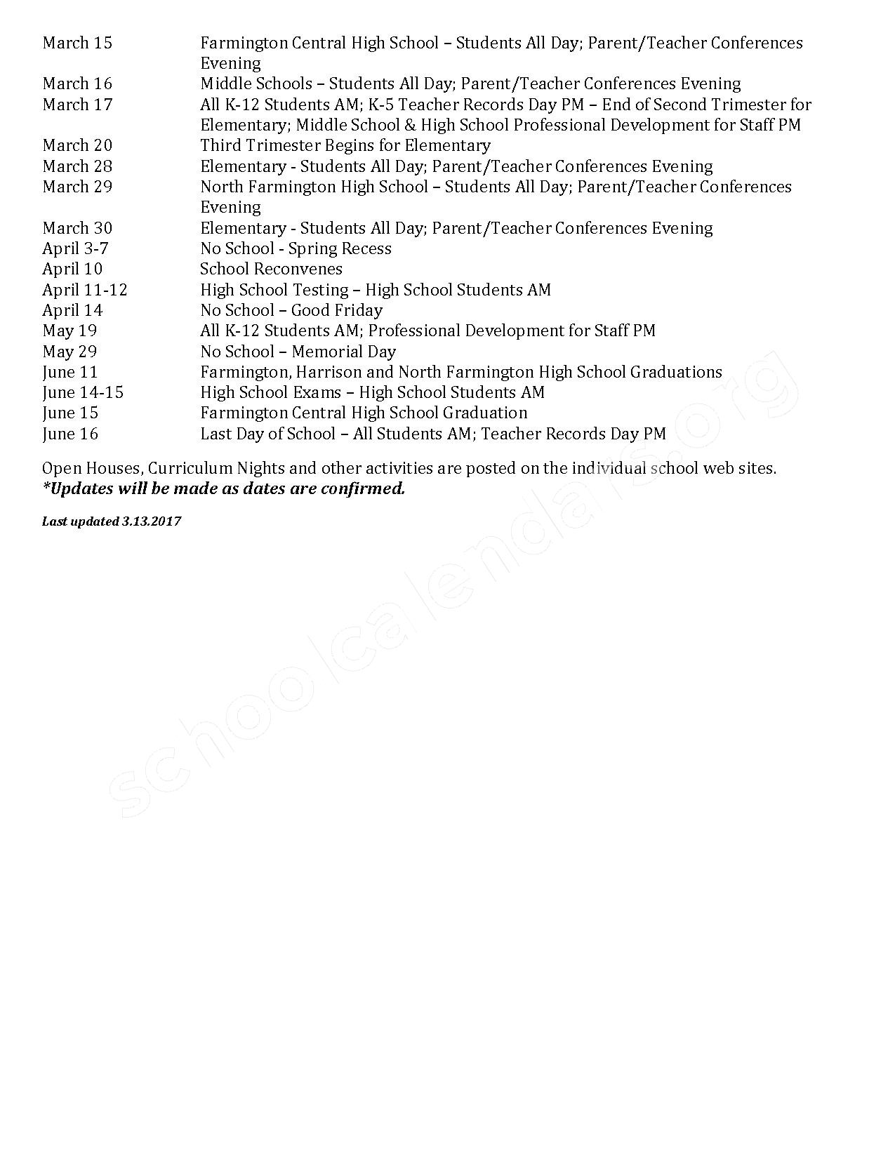 2016 - 2017  District Calendar – Kenbrook Elementary School – page 2