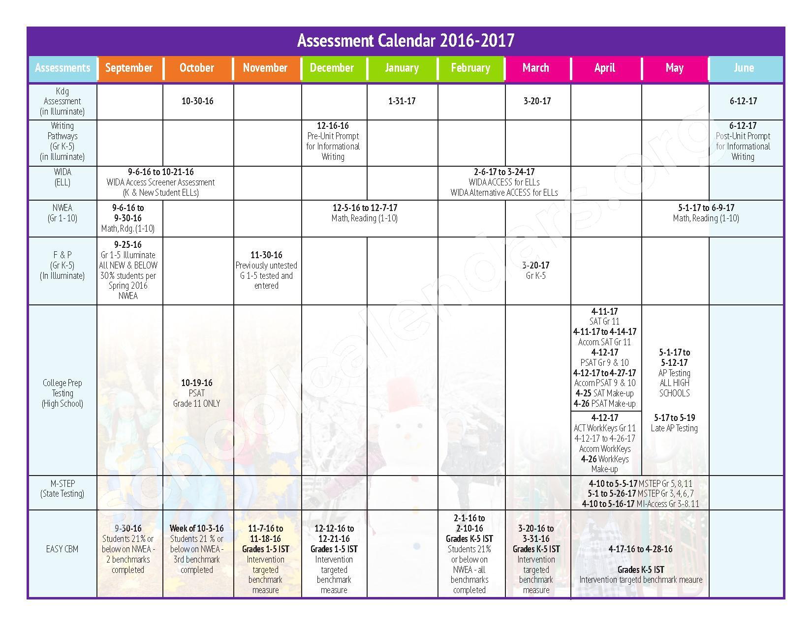 2016 - 2017 Testing Calendar – Kenbrook Elementary School – page 1