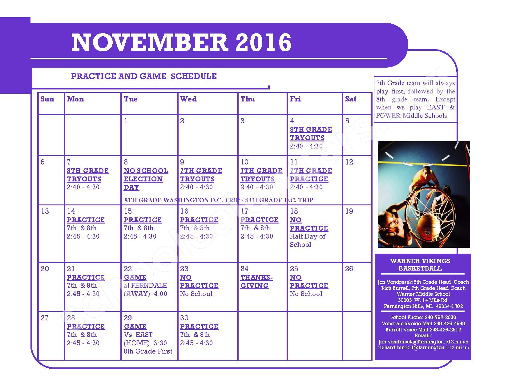 2016 - 2017 District Calendar – Kenbrook Elementary School – page 1