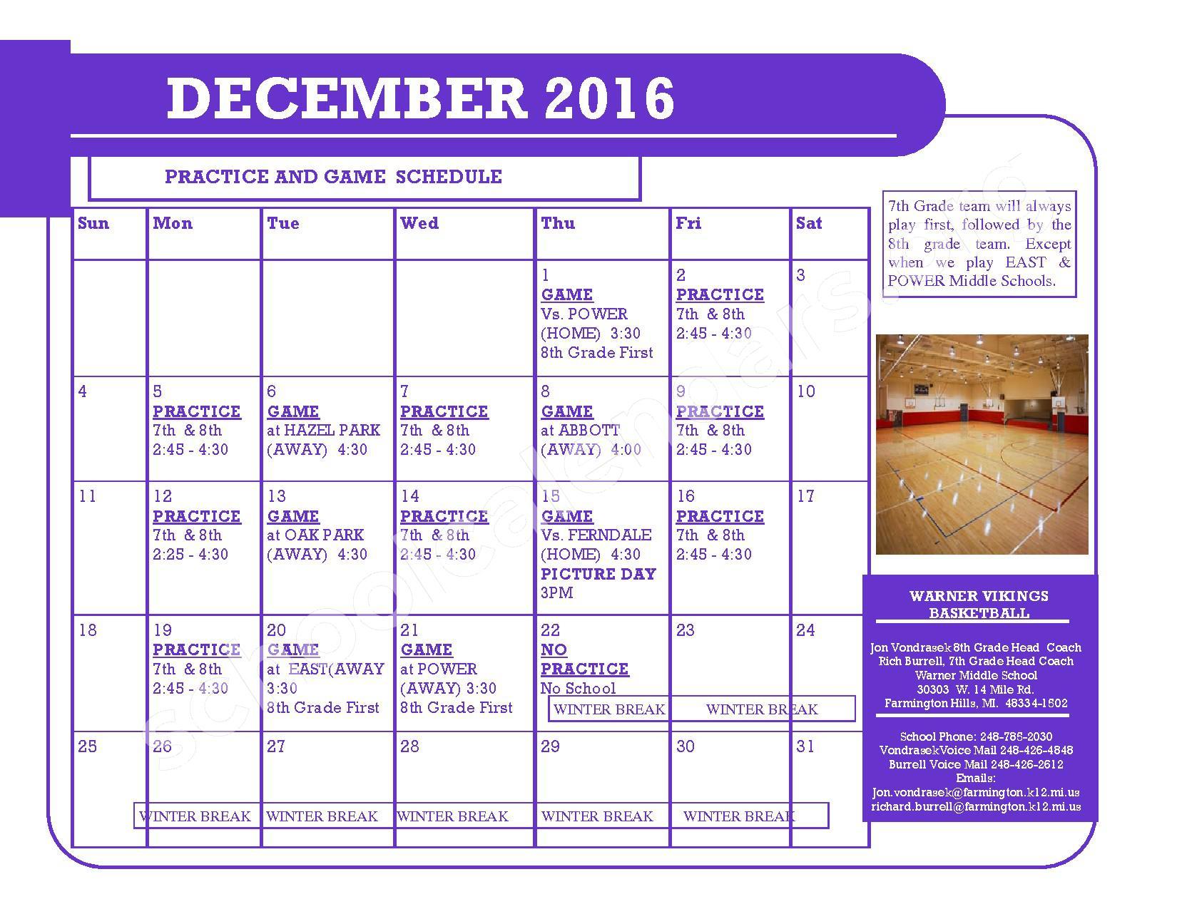 2016 - 2017 District Calendar – Kenbrook Elementary School – page 2