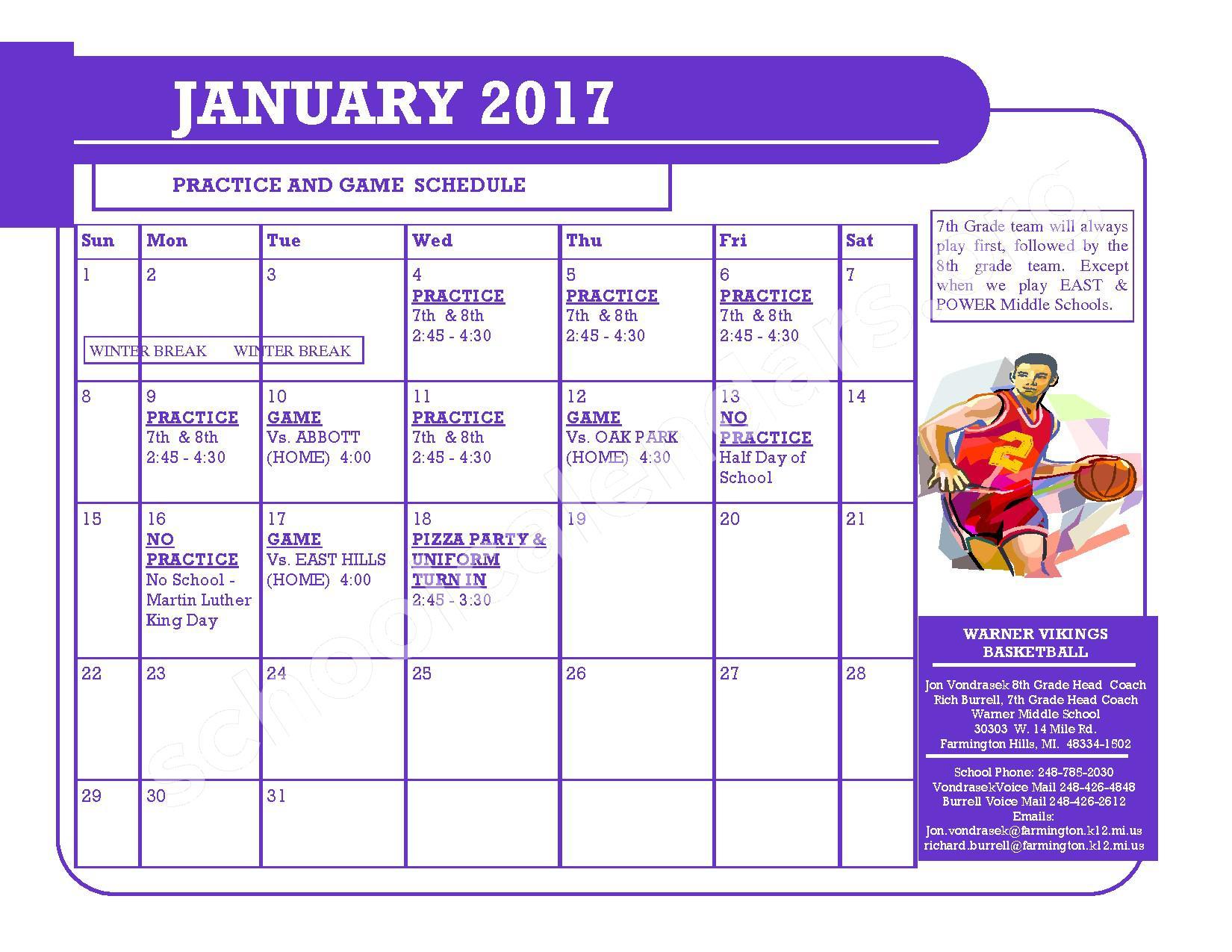 2016 - 2017 District Calendar – Kenbrook Elementary School – page 3