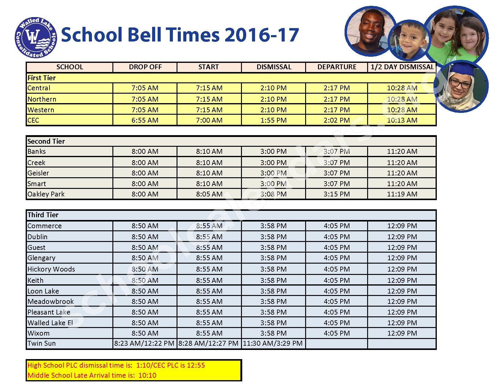 2016 - 2017 School Bell Times – Farmington Public School District – page 1