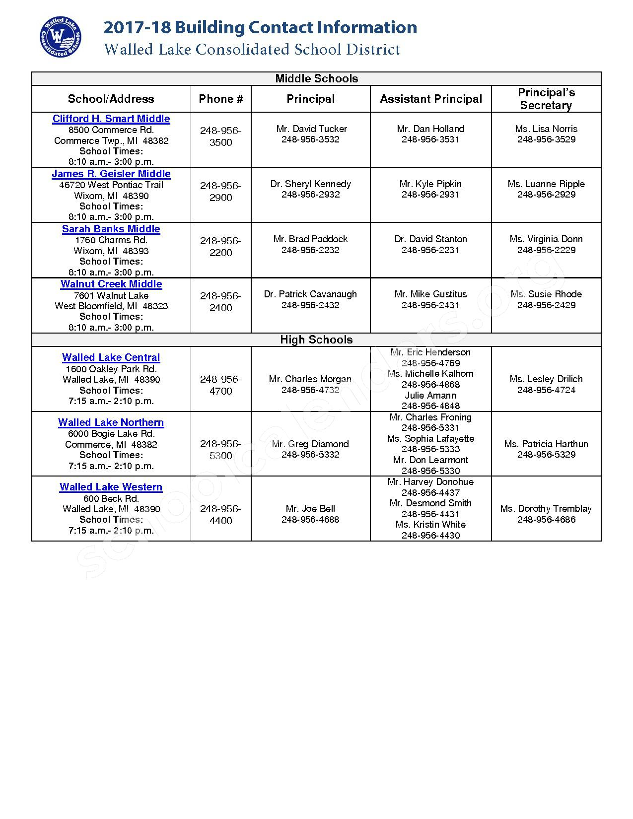 2016 - 2017 School Contact Information – Farmington Public School District – page 2