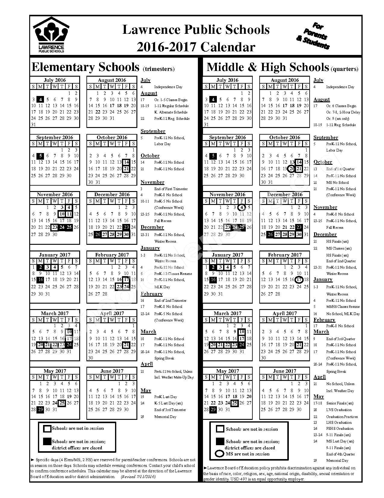 2016 - 2017 Student Calendar – Quail Run Elementary School – page 1