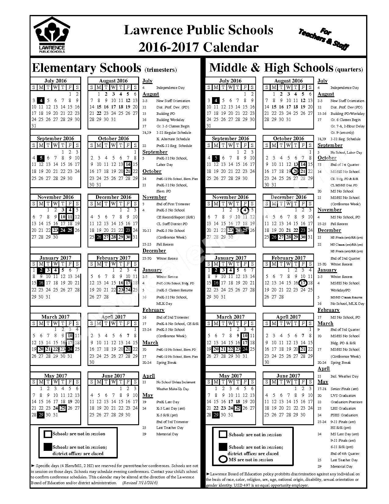 2016 - 2017 Staff Calendar – Lawrence Unified School District 497 – page 1