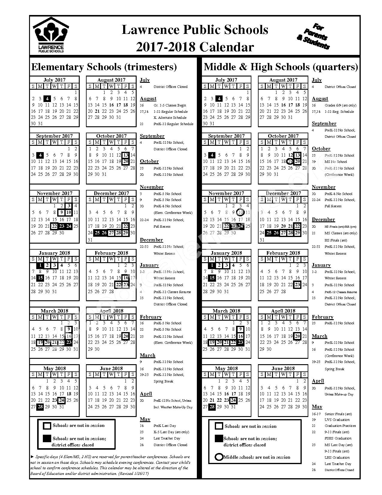 2017 - 2018 Student Calendar – Lawrence Unified School District 497 – page 1